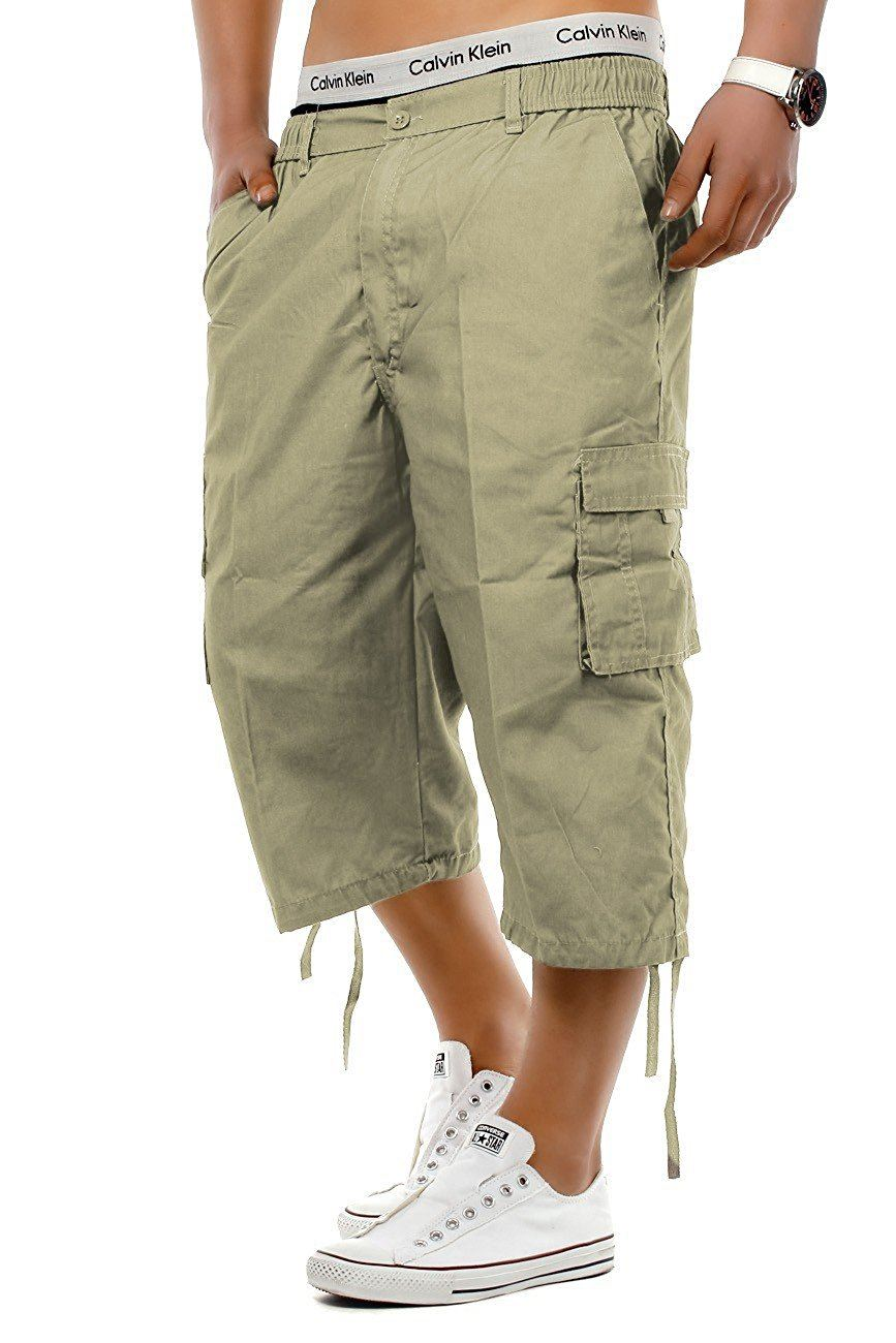 Mens-3-4-Long-Length-Shorts-Elasticated-Waist-Cargo-Combat-Three-Quarter-Shorts thumbnail 3