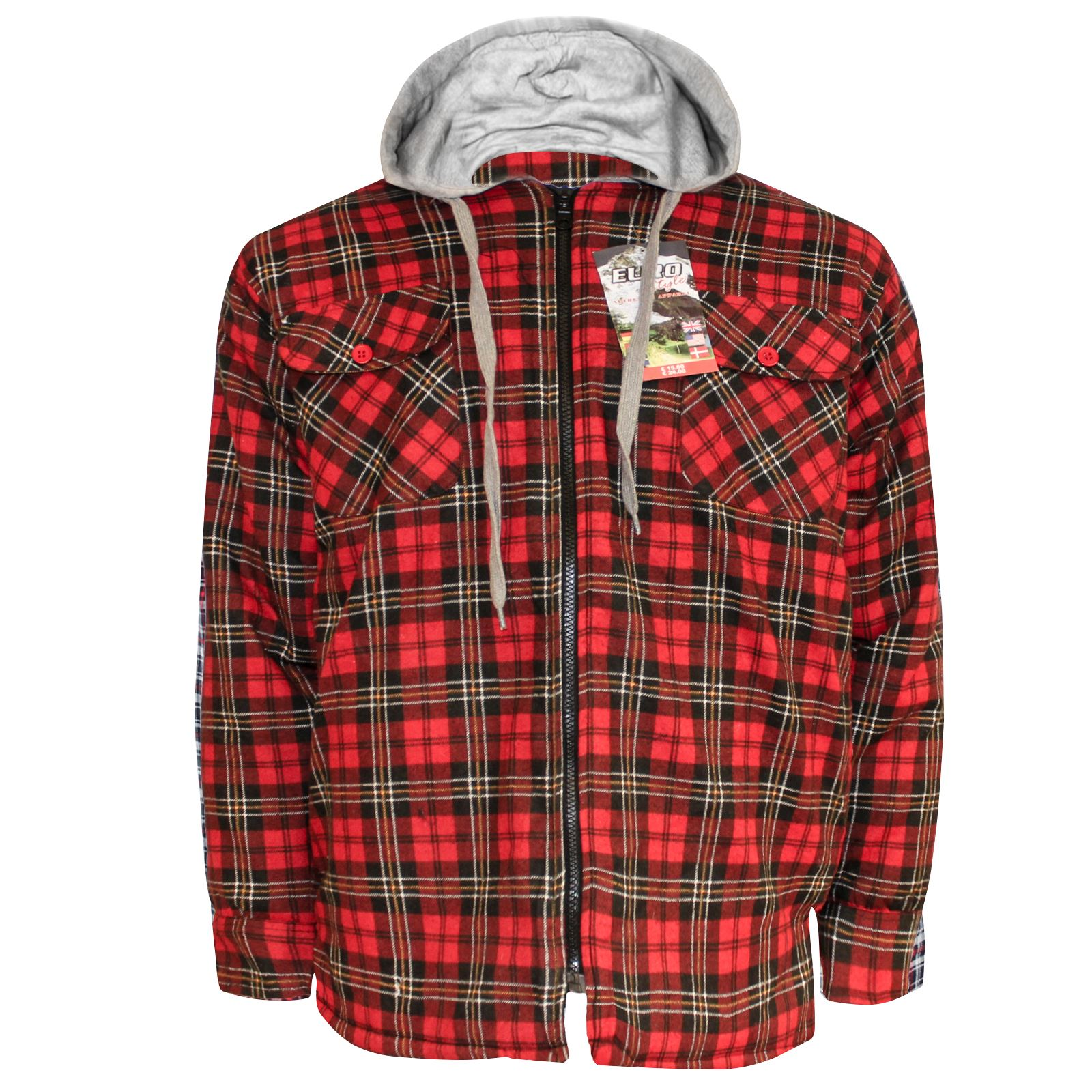 Mens new quilted thick lumberjack padded hooded check work for Mens padded lumberjack shirt