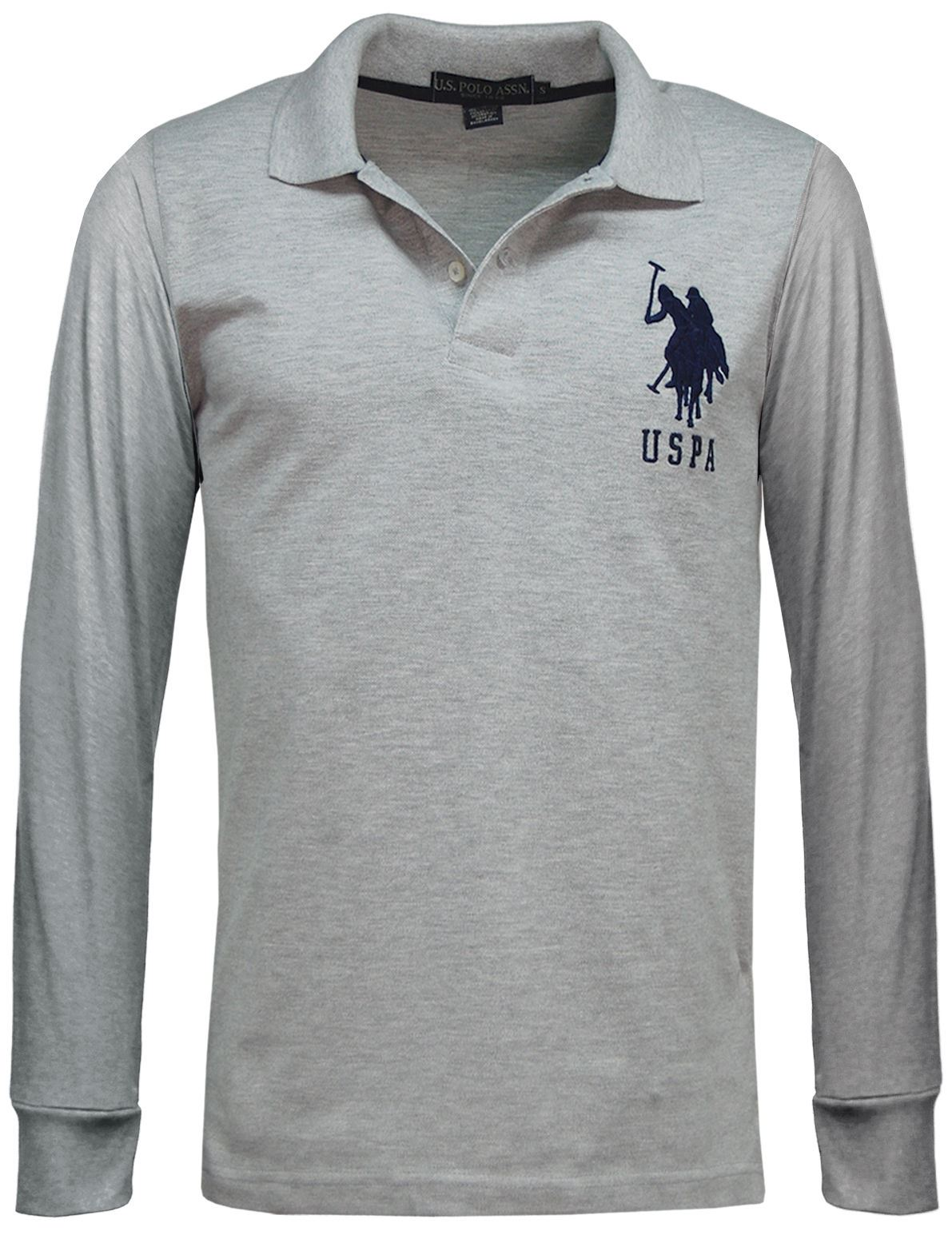 Us polo assn branded mens long sleeve polo shirts pique for Branded polo t shirts