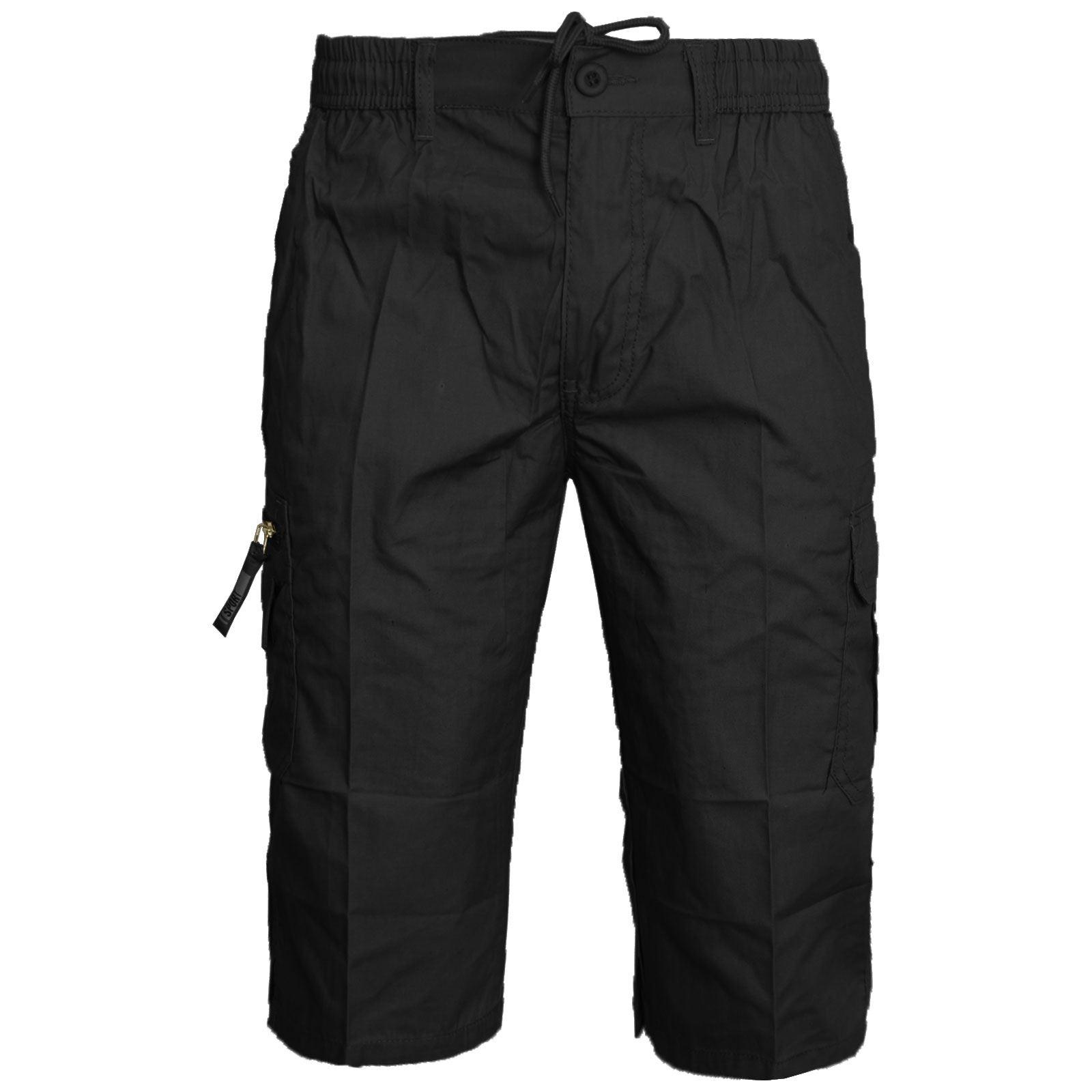 Nuevo-pantalon-corto-para-hombre-Plain-3-4-Verano-Cintura-Elastica-Pantalones-Cargo-Combate-Largo-3 miniatura 25