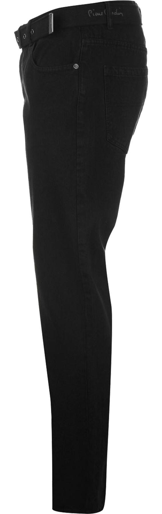 Mens-Belted-Denim-Jeans-Straight-Leg-Regular-Fit-Pierre-Cardin-Pants-Big-Tall thumbnail 3