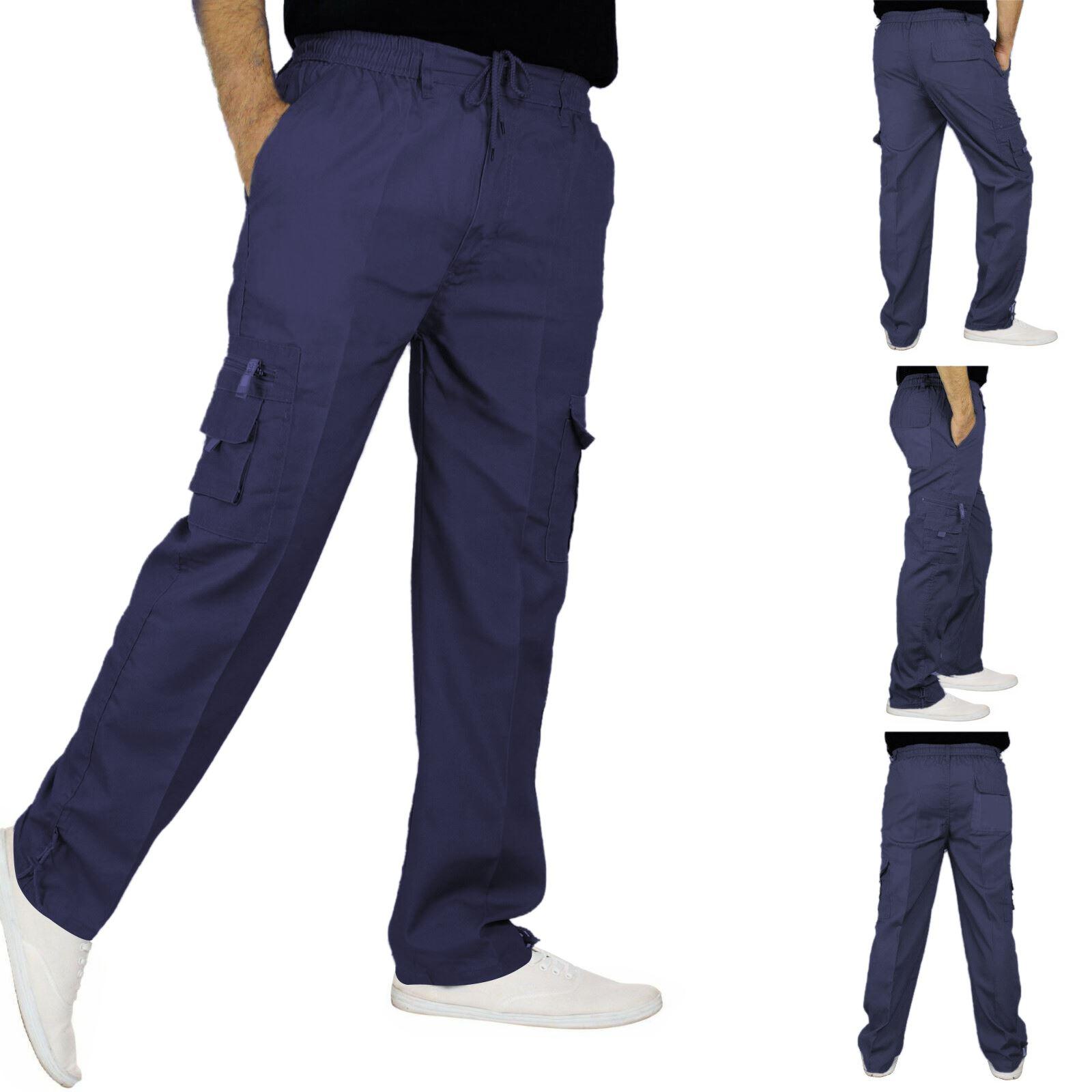 New-Mens-Lightweight-Elasticated-Cargo-Trousers-Combat-Work-Pants-Bottoms-M-XXL thumbnail 11