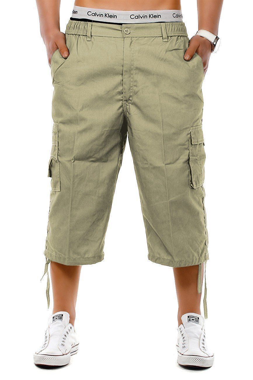 Mens-3-4-Long-Length-Shorts-Elasticated-Waist-Cargo-Combat-Three-Quarter-Shorts thumbnail 2