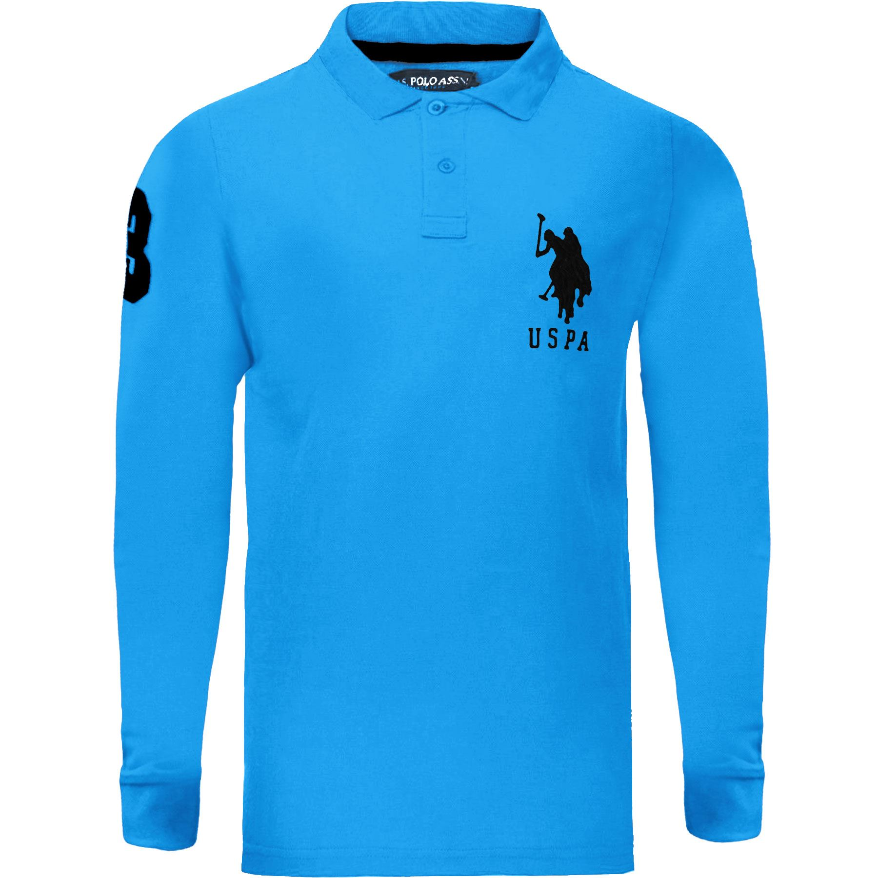 New Mens Long Sleeve Polo Shirt Top Branded Big Pony