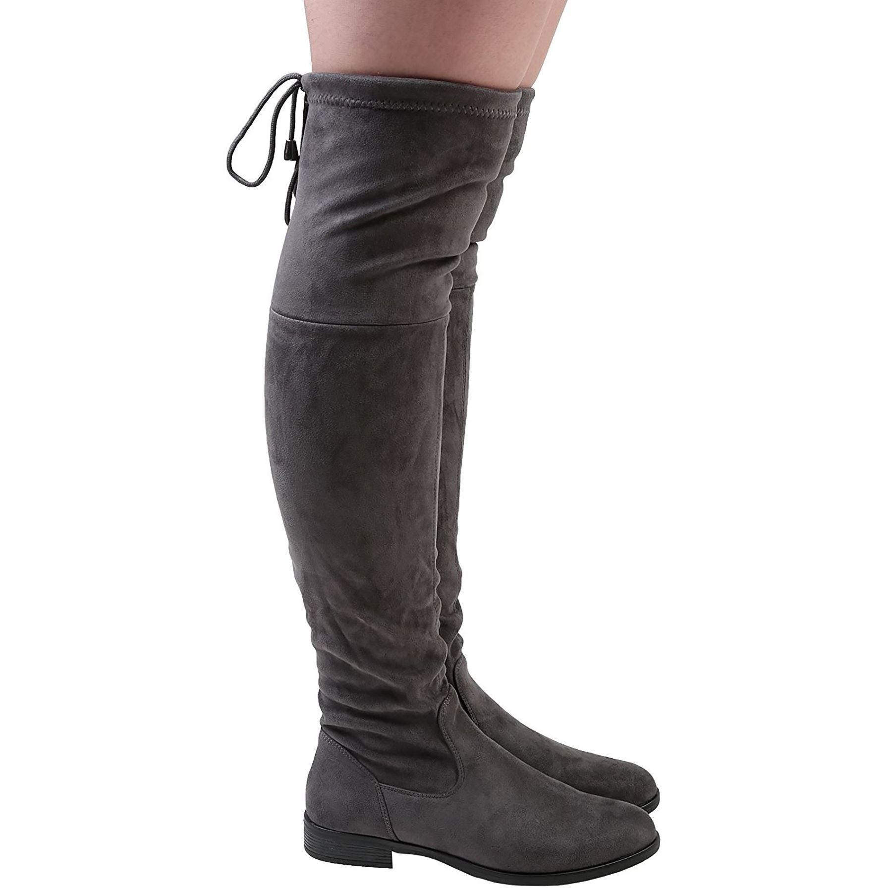 Ladies-DELLE-DONNE-Coscia-Sopra-Il-Stivali-Al-Ginocchio-Tacco-Basso-Senza-Lacci-Scarpe-taglia-3-8