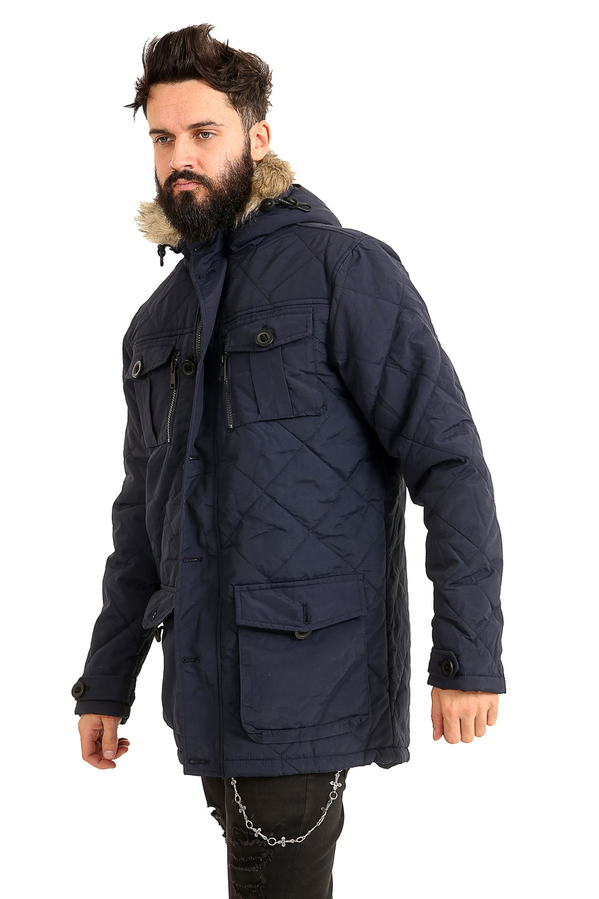 Mens-Quilted-Parker-Parka-Coat-Jacket-Fur-Lined-Hood-Warm-Winter-Thick-Padded thumbnail 6