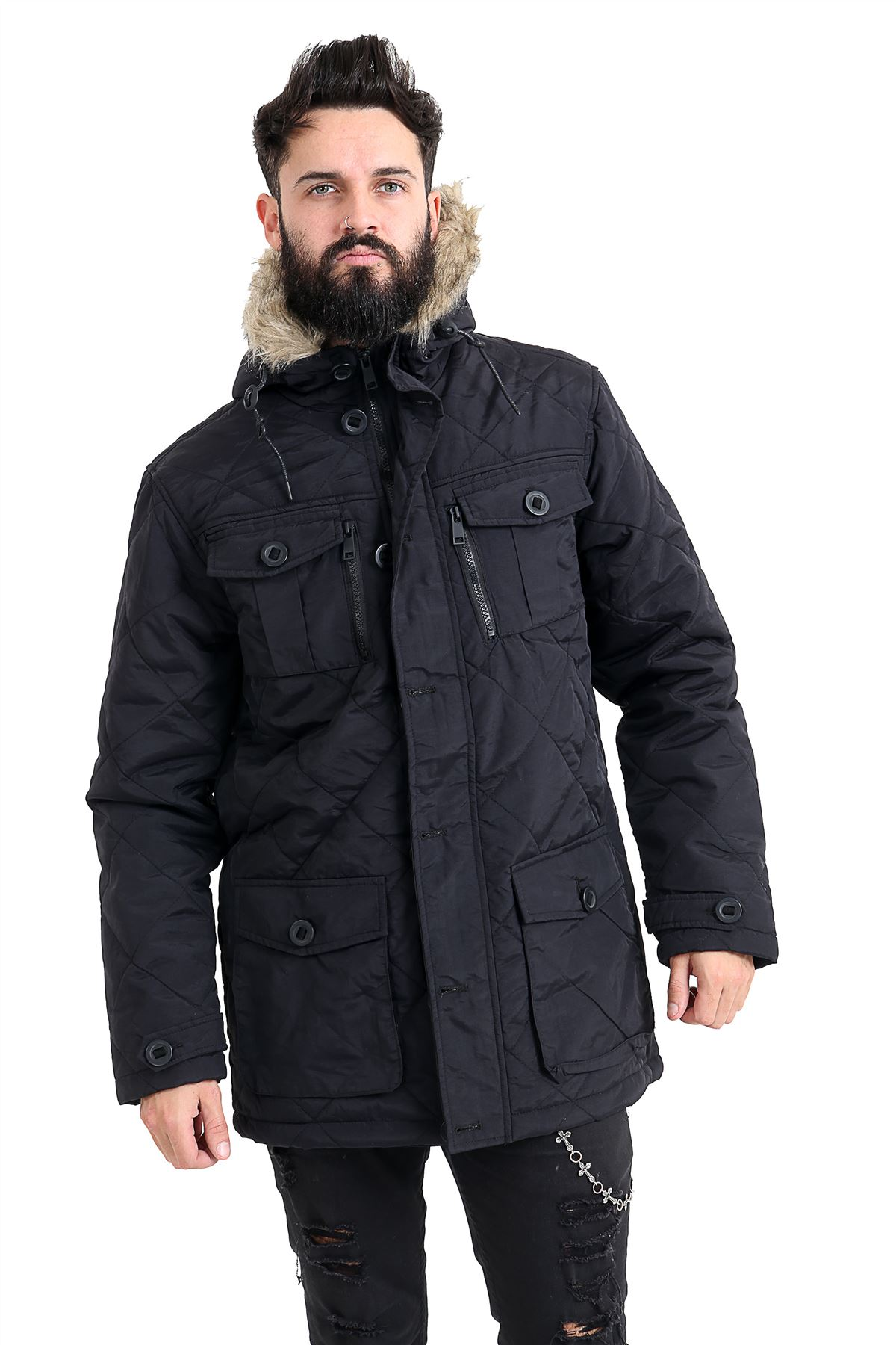 Mens-Quilted-Parker-Parka-Coat-Jacket-Fur-Lined-Hood-Warm-Winter-Thick-Padded thumbnail 4