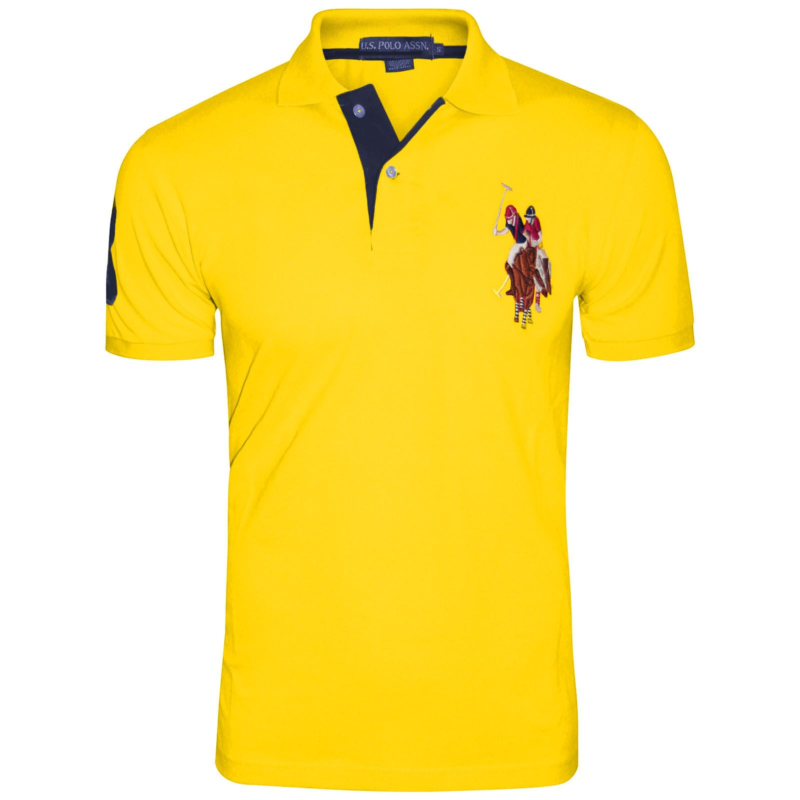Mens pique polo branded sleeve big pony contrast lauren for Branded polo t shirts