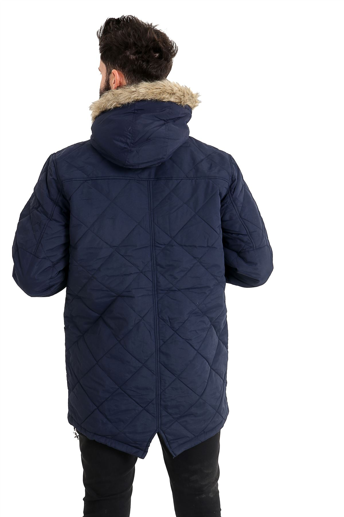 Mens-Quilted-Parker-Parka-Coat-Jacket-Fur-Lined-Hood-Warm-Winter-Thick-Padded thumbnail 7