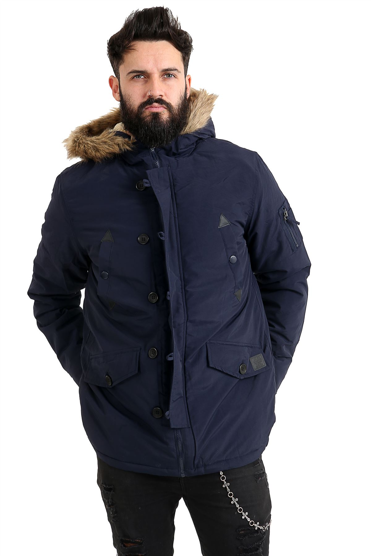 New-Mens-Fur-Hooded-Parka-Jacket-Warm-Winter-Thick-Padded-6-Pockets-Parker-Coat