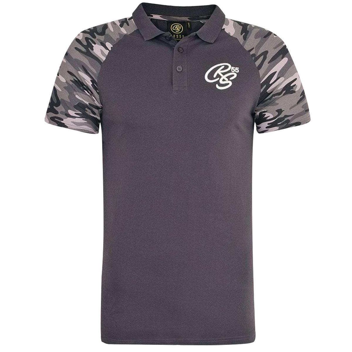Mens-Crosshatch-Army-Polo-T-Shirt-Collared-T-Shirt-Camo-Sleeve-Casual-Top-Tee thumbnail 4