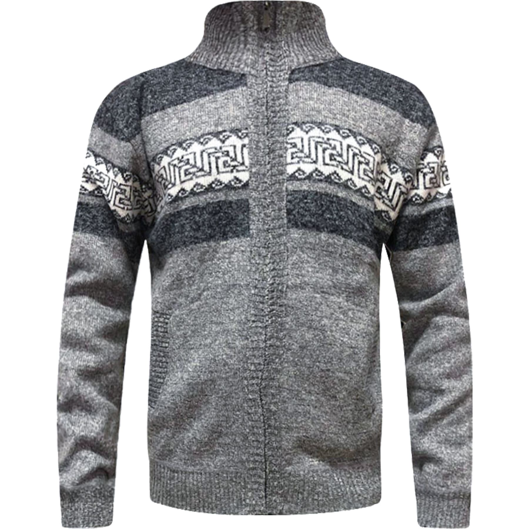 Mens-Zip-Up-Aztec-Fleece-Lined-Knitted-Cardigan-Xmas-Argyle-Wool-Blend-Jumper thumbnail 9
