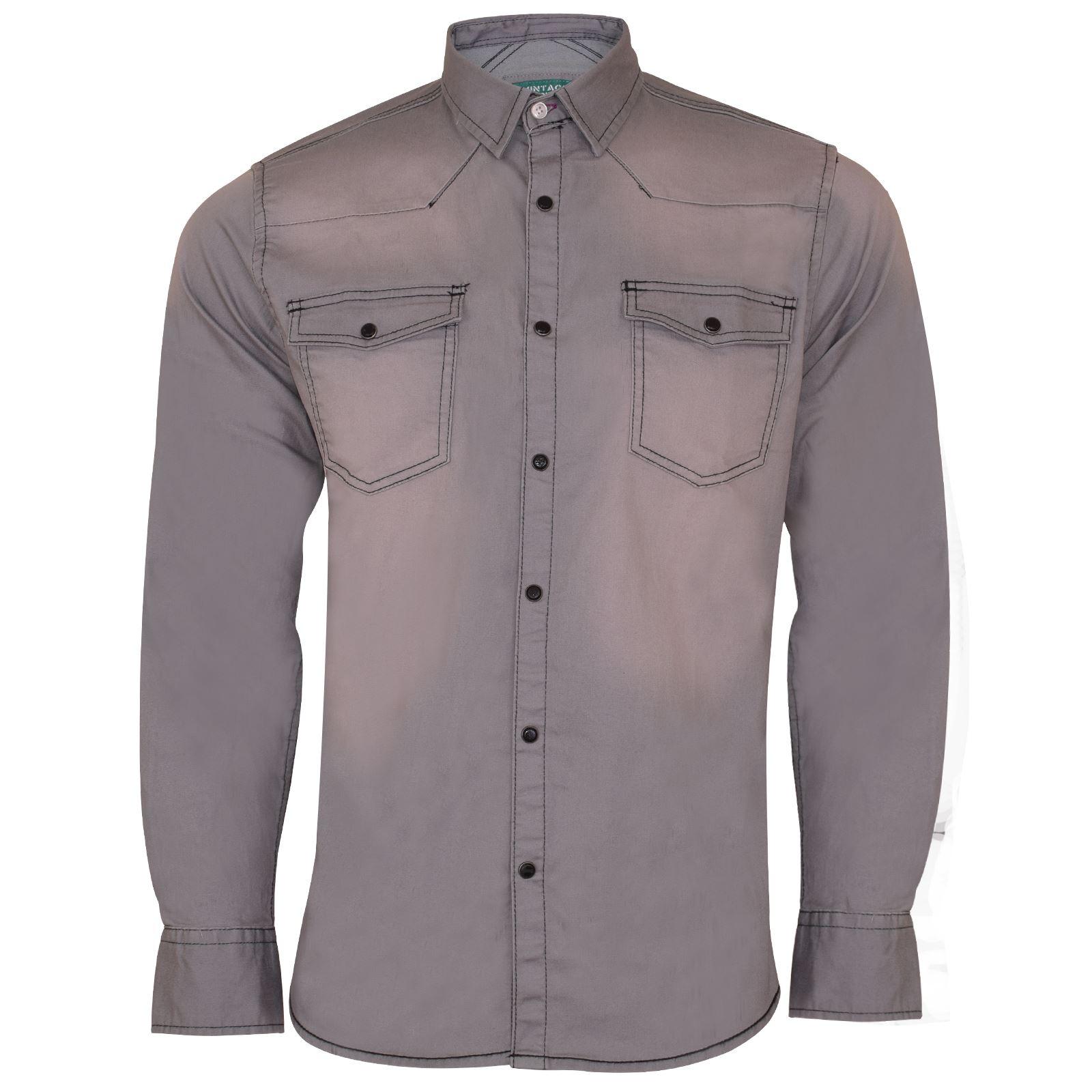 New Mens Denim Shirt Long Sleeve Casual Snap Button Smart