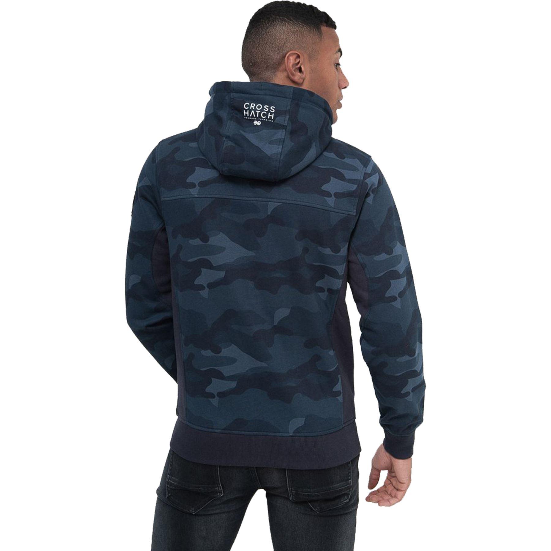 Crosshatch-Mens-Camo-Hoodie-Designer-Army-Style-Jacket-Zip-Thru-Pocket-Jacket thumbnail 3