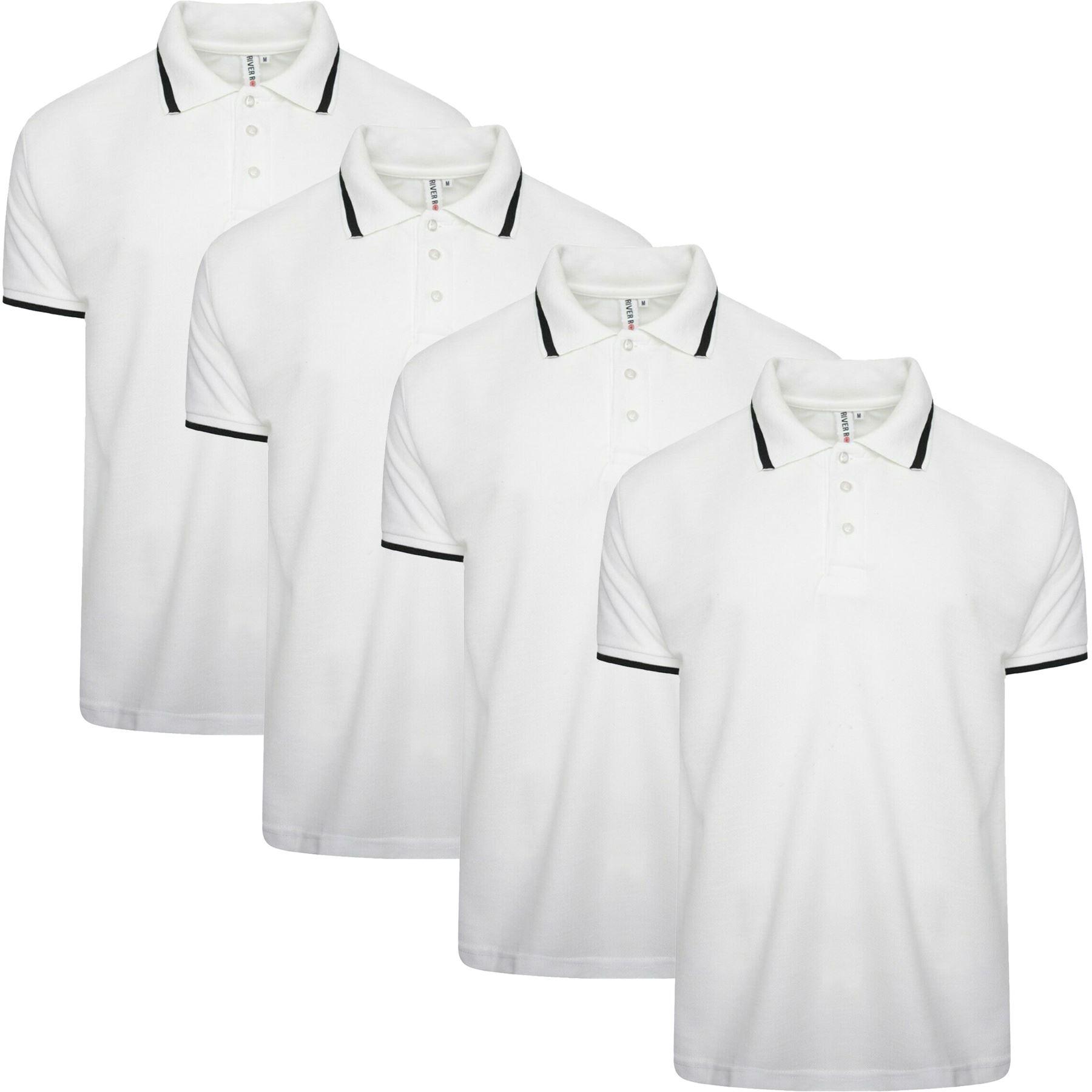 New Pack of 4 Mens Polo Shirt Short Sleeve Plain Pique Top Designer Tshirt Tee