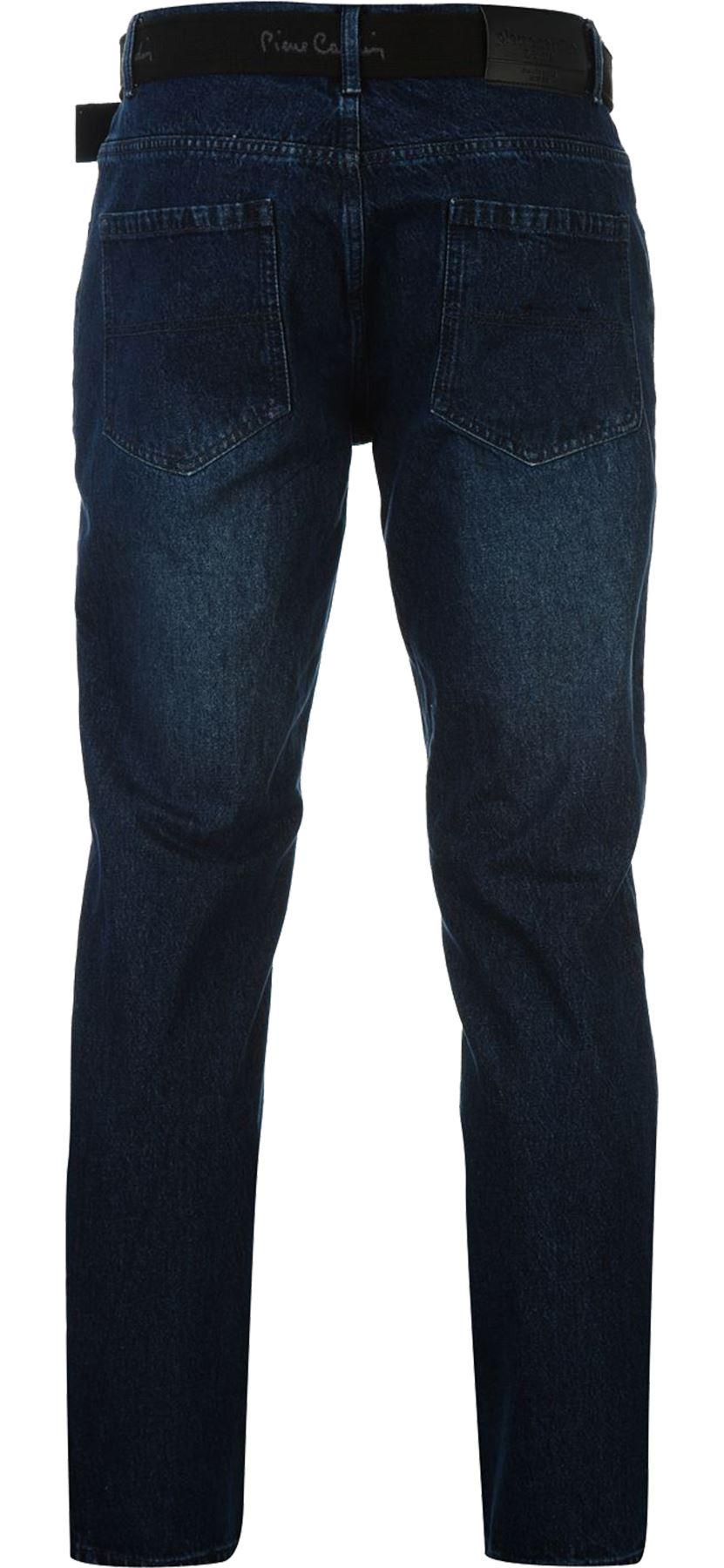 Mens-Belted-Denim-Jeans-Straight-Leg-Regular-Fit-Pierre-Cardin-Pants-Big-Tall thumbnail 16