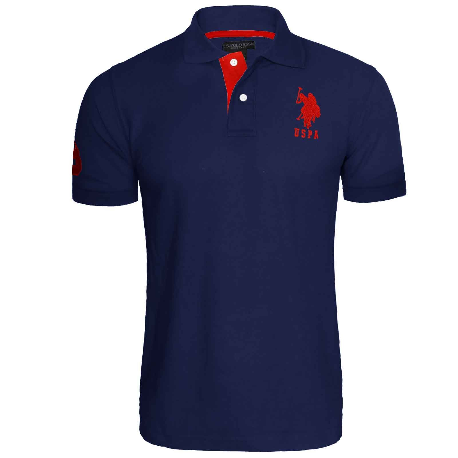 Mens us polo assn pique short sleeve cotton t shirt for Branded polo t shirts