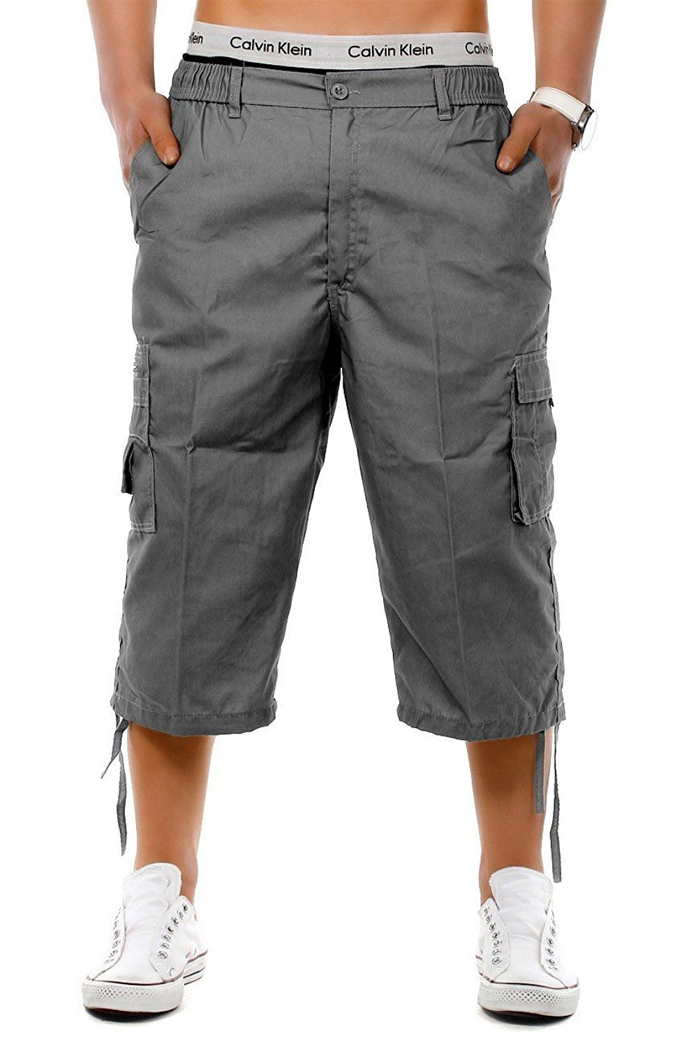 Mens-3-4-Long-Length-Shorts-Elasticated-Waist-Cargo-Combat-Three-Quarter-Shorts thumbnail 9