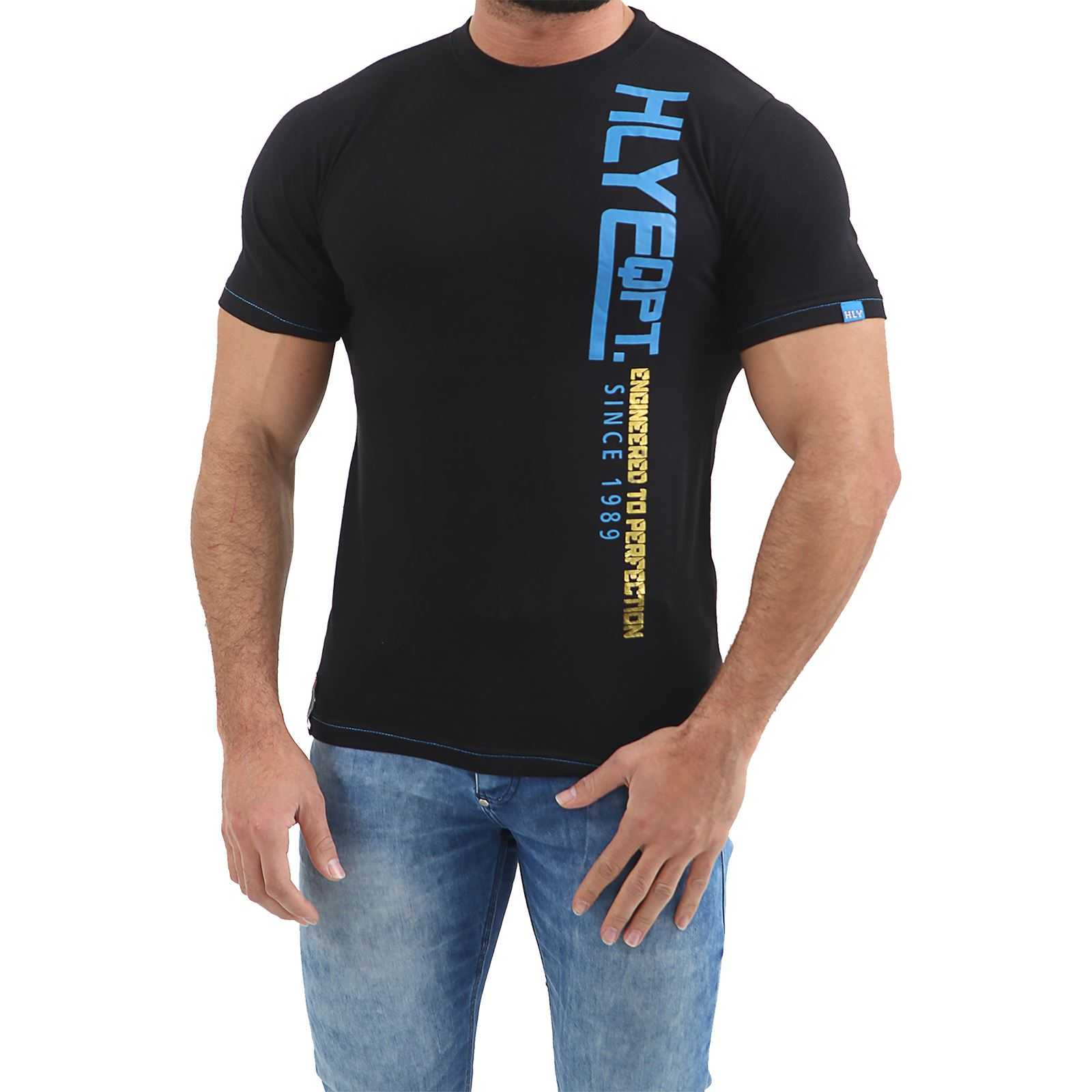 Mens-HLY-Printed-T-Shirt-100-Cotton-Gym-Athletic-Training-Tee-Top-Summer-New thumbnail 3
