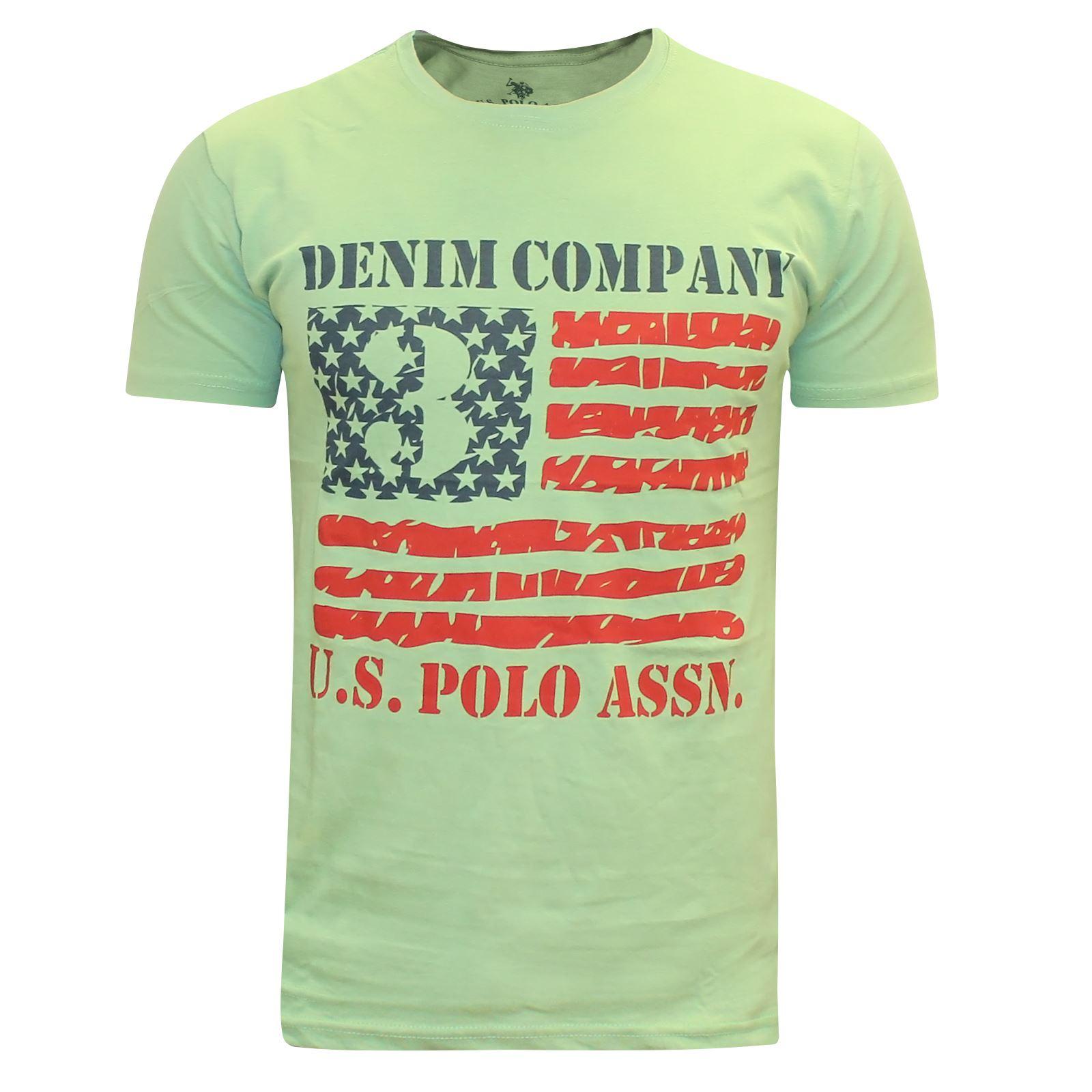 Nouveau-Homme-US-Polo-Assn-a-Manches-Courtes-Imprime-T-Shirt-Denim-Company-American-Top