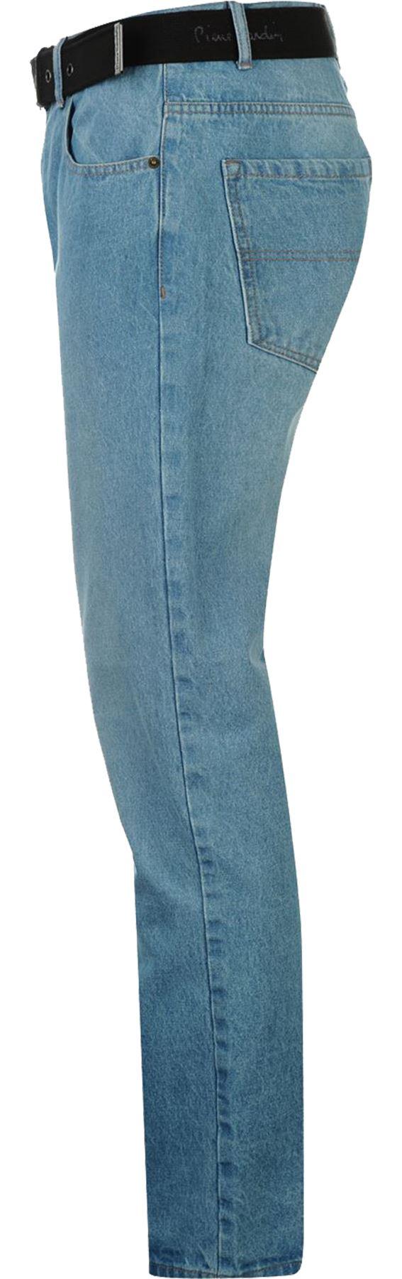 Mens-Belted-Denim-Jeans-Straight-Leg-Regular-Fit-Pierre-Cardin-Pants-Big-Tall thumbnail 11