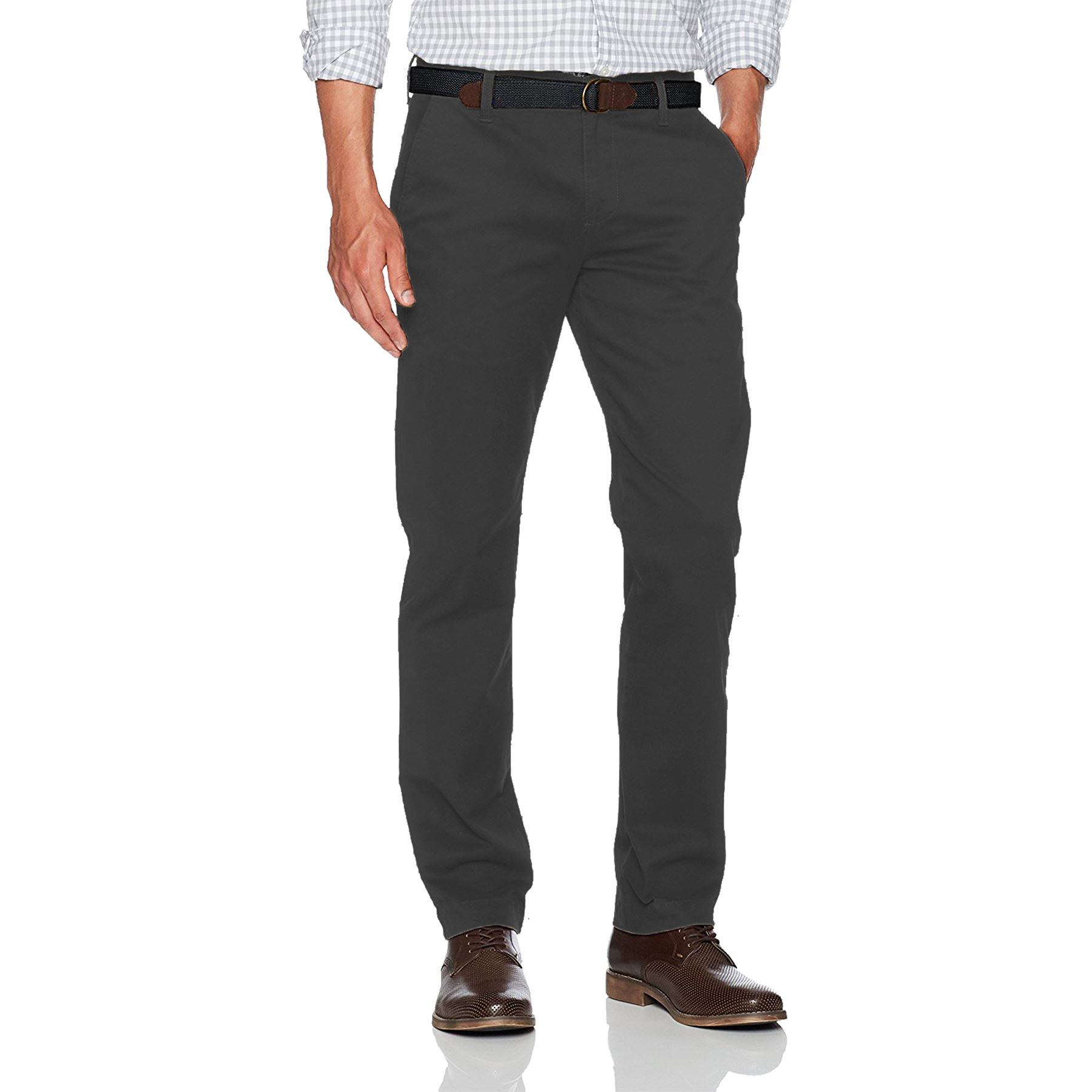 Para-Hombres-Pantalones-Regular-Fit-Straight-Chino-De-Algodon-Informales-Pantalones-de-trabajo miniatura 6