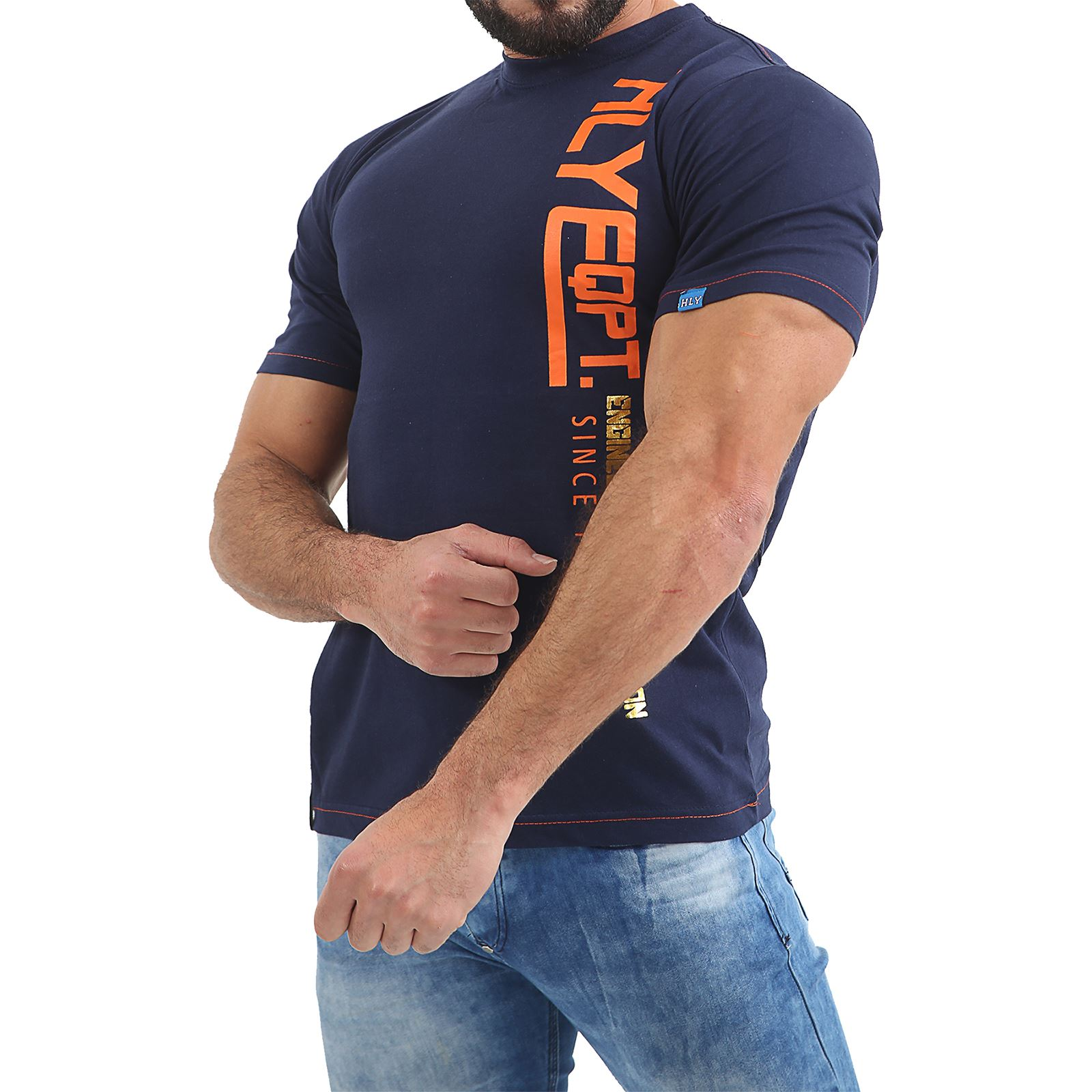 Mens-HLY-Printed-T-Shirt-100-Cotton-Gym-Athletic-Training-Tee-Top-Summer-New thumbnail 14