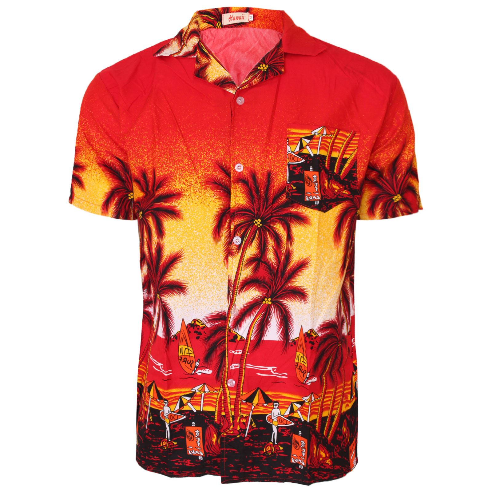 Hawaiian Mens Shirt Floral Rockabilly Surf Beach Party Holiday Stag