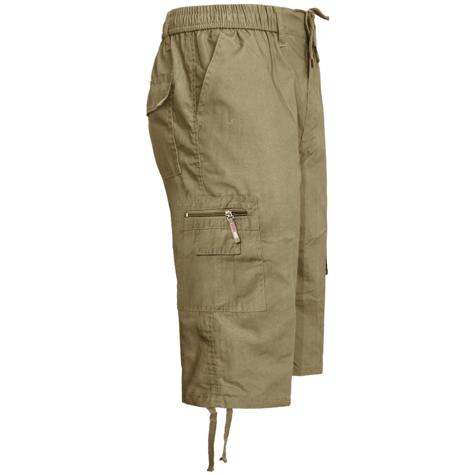 Nuevo-pantalon-corto-para-hombre-de-carga-de-combate-3-4-Largo-Elastico-Pantalones-Informales-Tallas miniatura 6