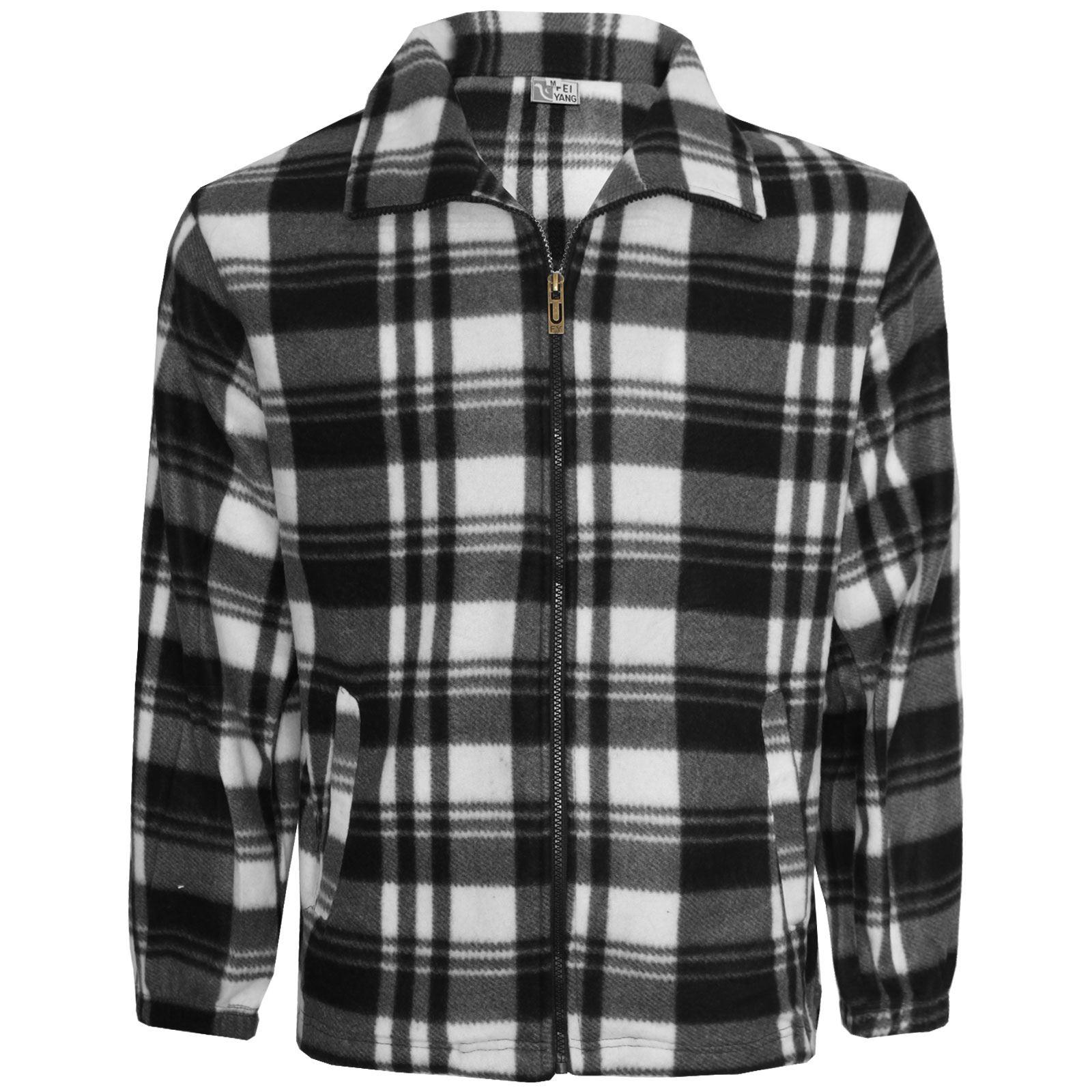 Mens zip up fleece shirt check lumberjack light flannel for Mens warm flannel shirts