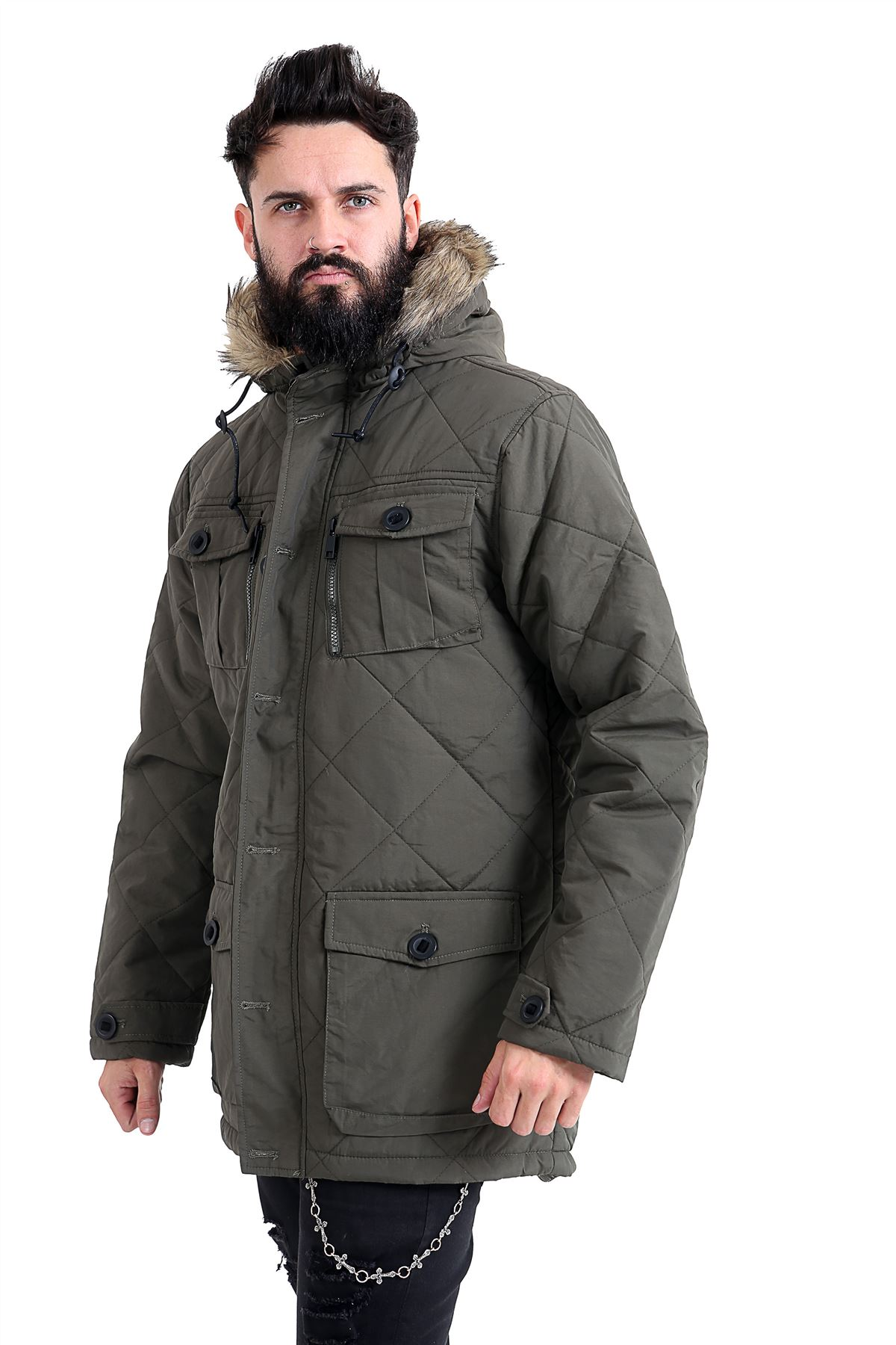 Mens-Quilted-Parker-Parka-Coat-Jacket-Fur-Lined-Hood-Warm-Winter-Thick-Padded thumbnail 10