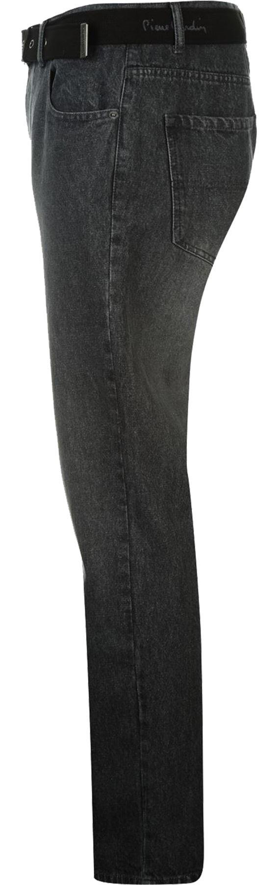 Mens-Belted-Denim-Jeans-Straight-Leg-Regular-Fit-Pierre-Cardin-Pants-Big-Tall thumbnail 7
