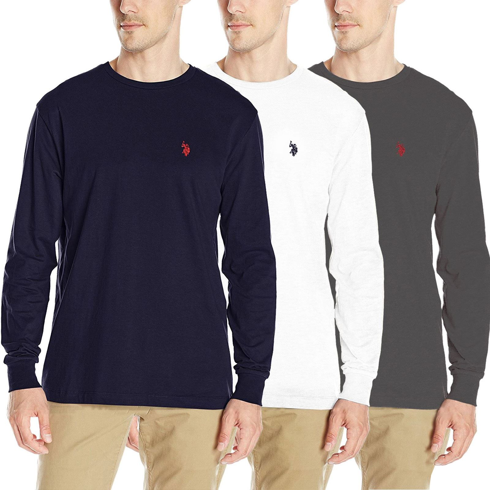 Mens us polo assn polo men 39 s crew neck t shirt long sleeve for Best polo t shirts for men