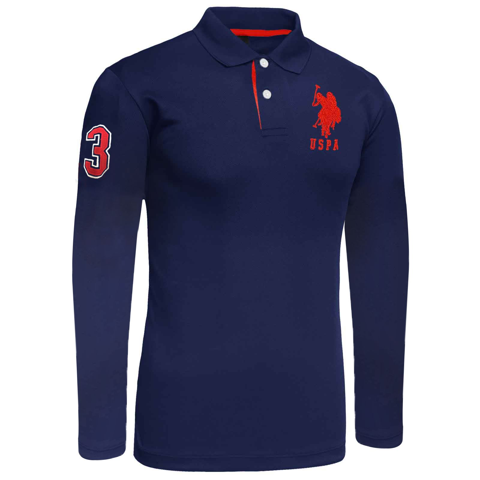 Mens long sleeve polo shirt top us polo assn branded big for Branded polo t shirts