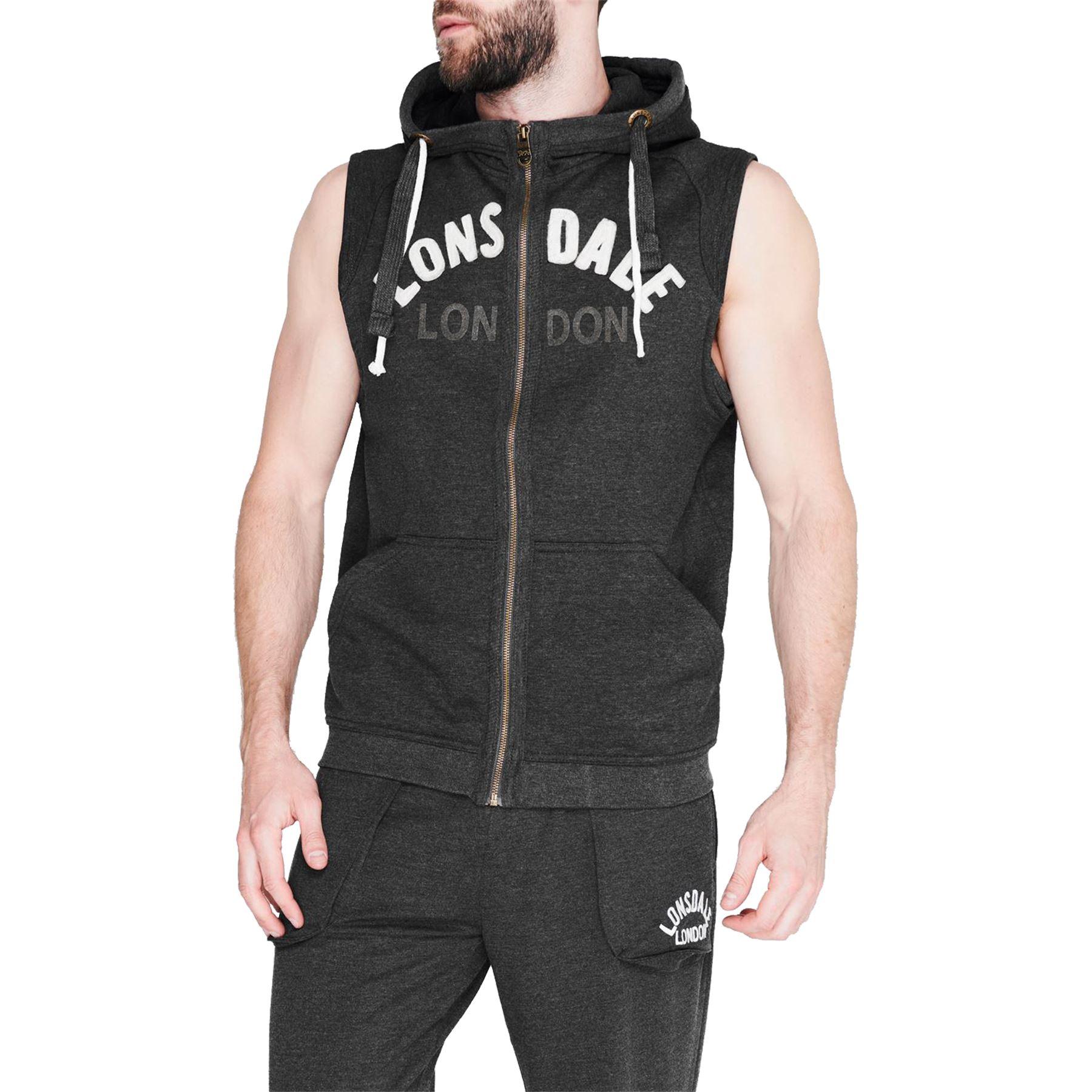 Mens Lonsdale Sleeveless Hoodie Zip Up Hooded Top Gilet Fleece Boxing Jacket