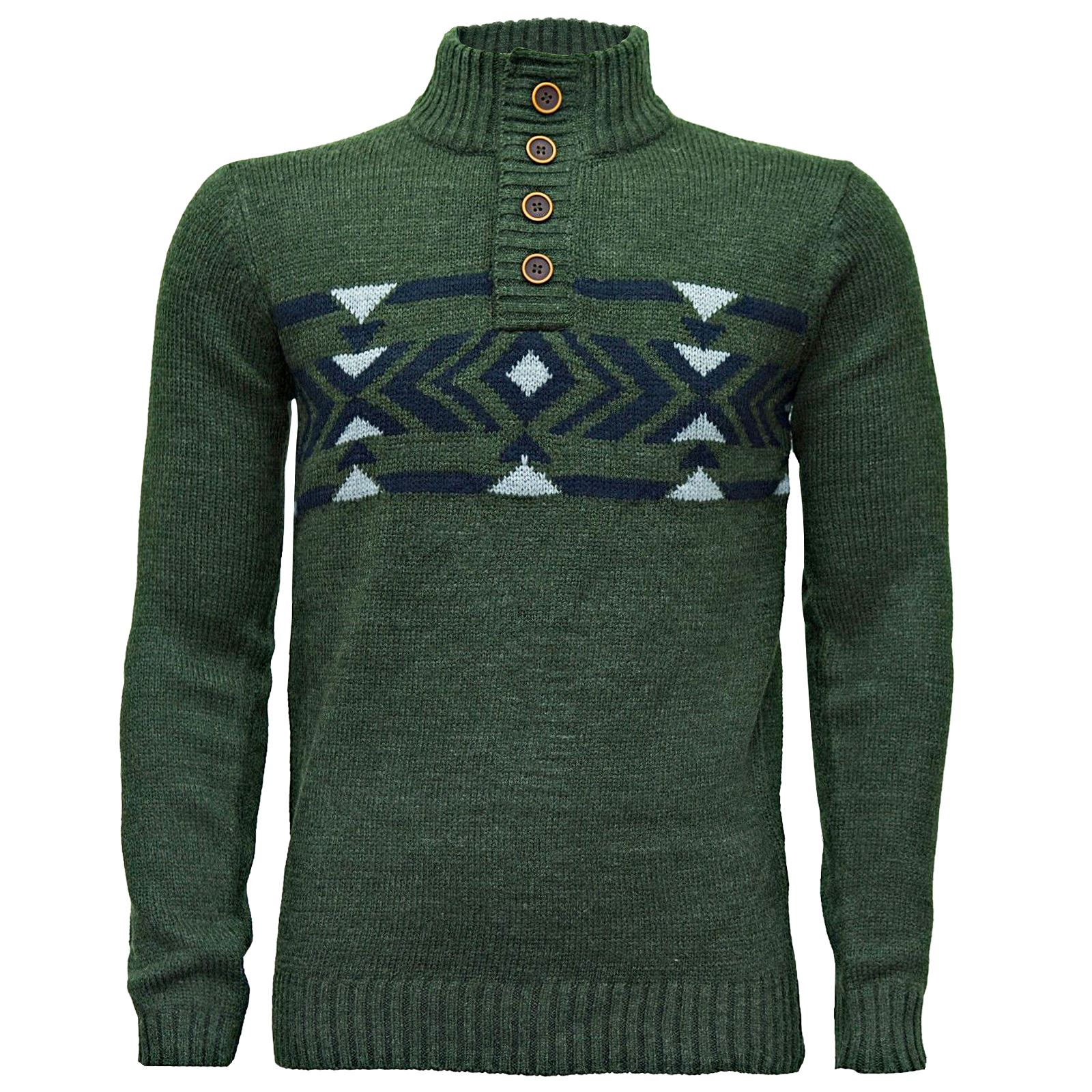 Mens Casual Winter Warm Knitwear Knitted Shawl High Neck Sweater ...