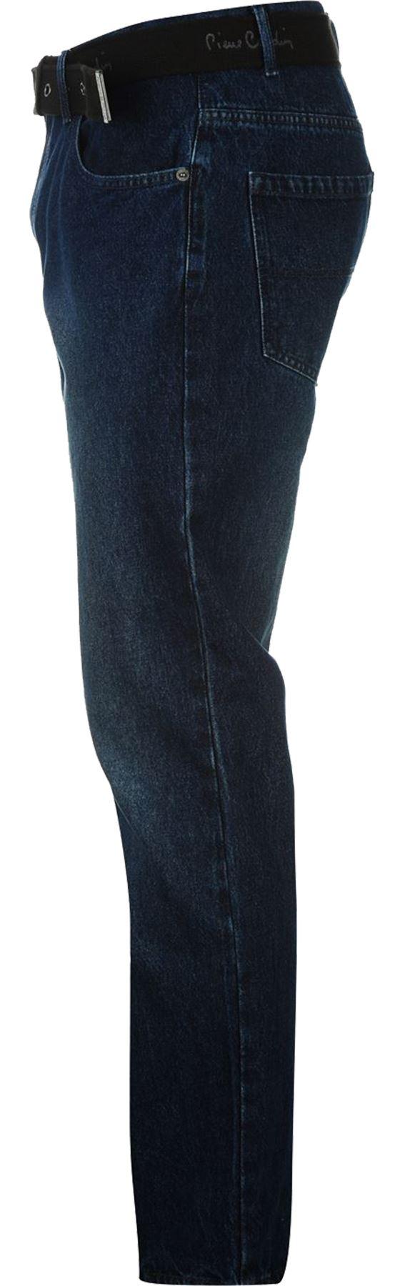 Mens-Belted-Denim-Jeans-Straight-Leg-Regular-Fit-Pierre-Cardin-Pants-Big-Tall thumbnail 15