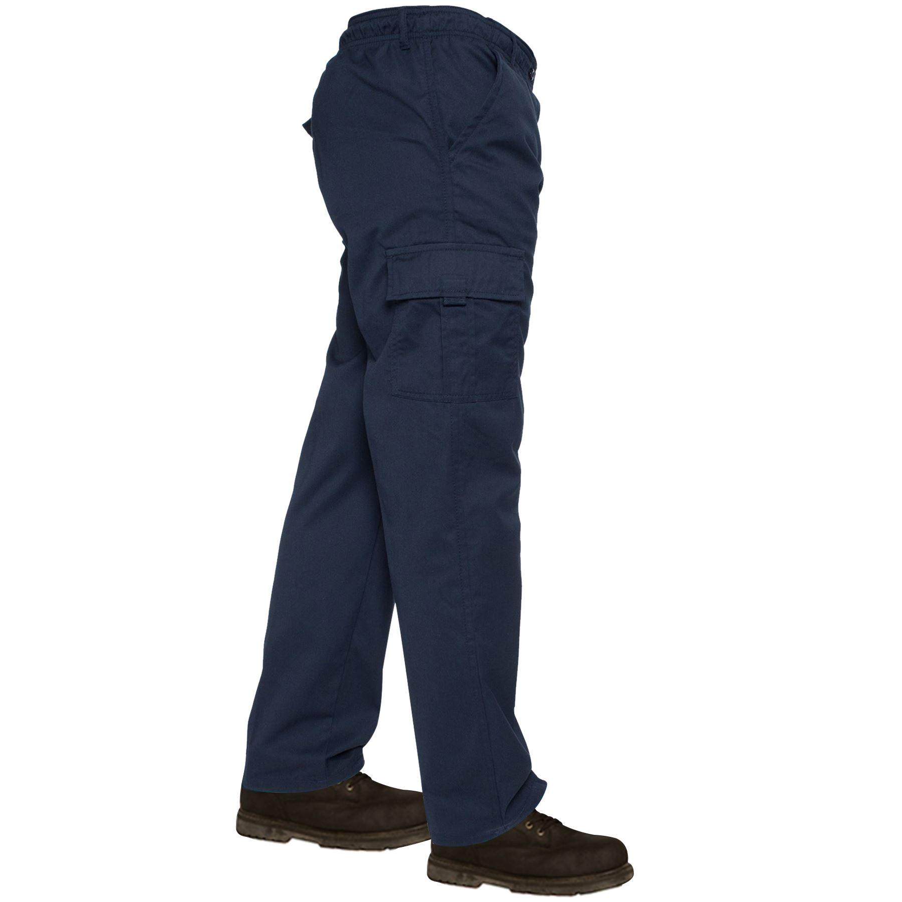 Mens-Lightweight-Elasticated-Waist-Cargo-Trousers-Combat-Work-Pants-Bottoms-New thumbnail 4