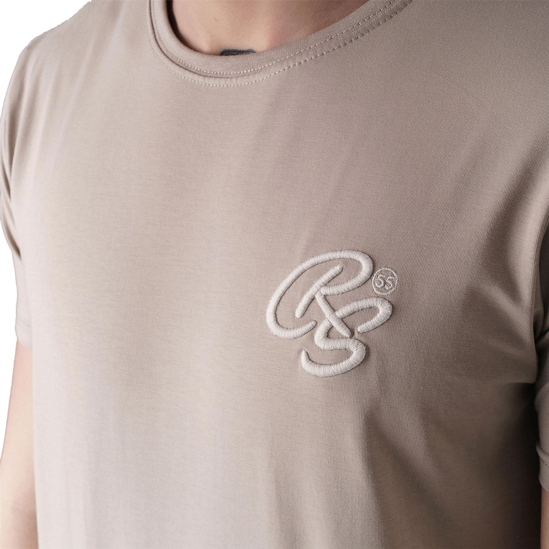 New Mens Crosshatch T-Shirt Embossed Logo Short Sleeved Crew Neck Tee Top