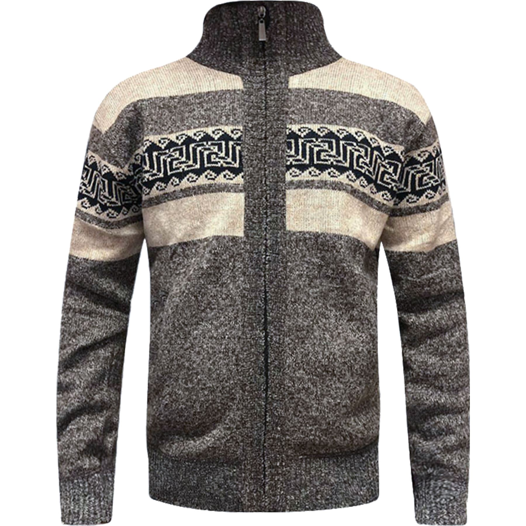 Mens-Zip-Up-Aztec-Fleece-Lined-Knitted-Cardigan-Xmas-Argyle-Wool-Blend-Jumper thumbnail 3
