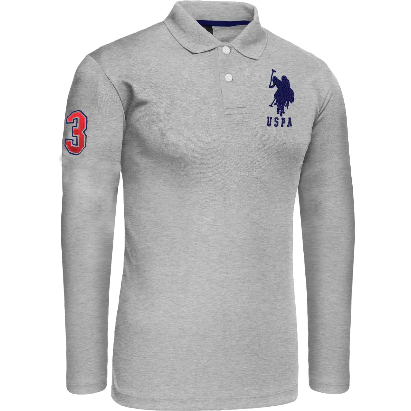 Mens us polo assn long sleeve polo shirt pique top style for Mens collared t shirts