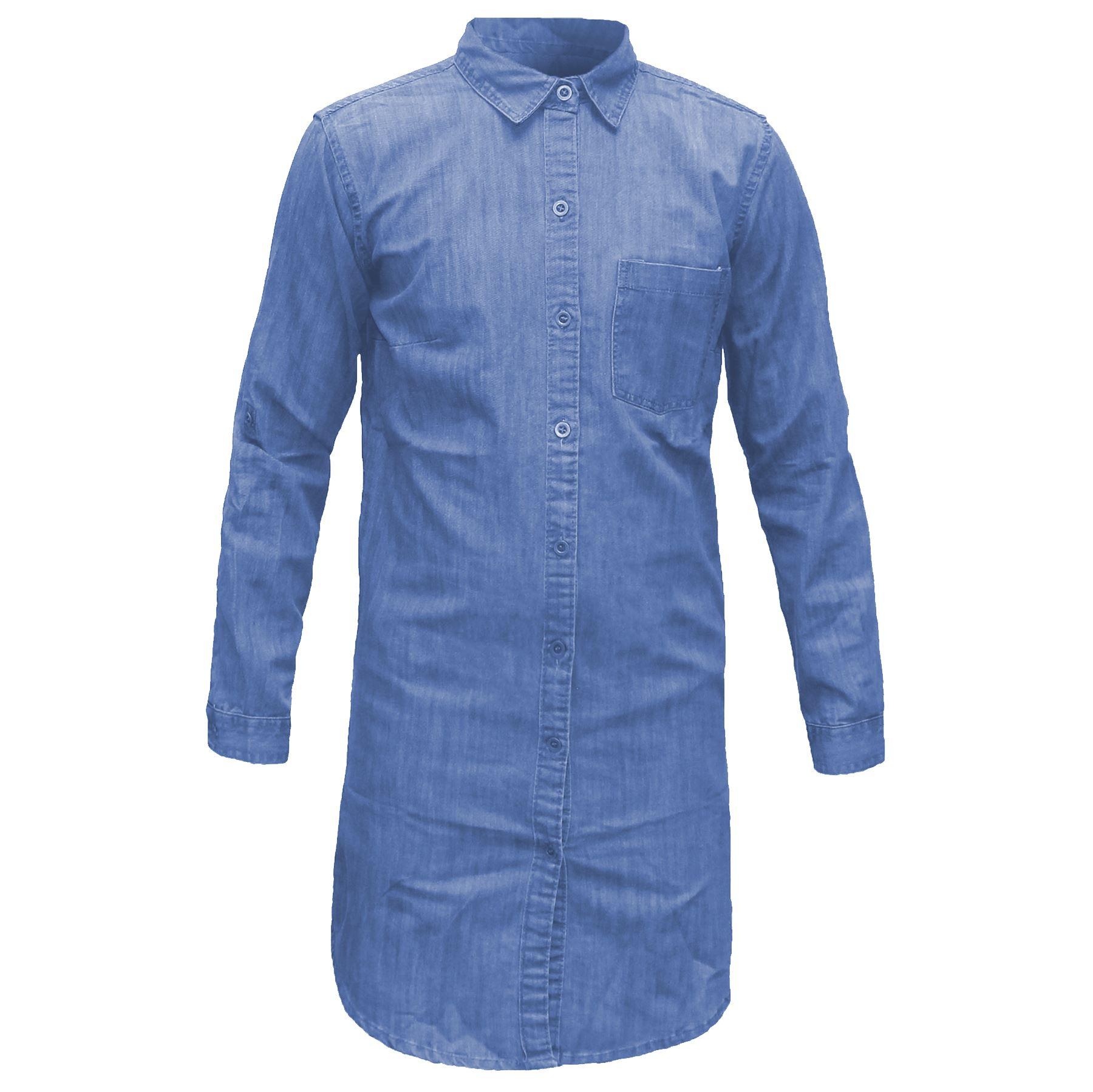 Womens-Denim-Long-Top-T-Shirt-Ladies-Casual-Mini-Dress-Long-Sleeve-Blouse