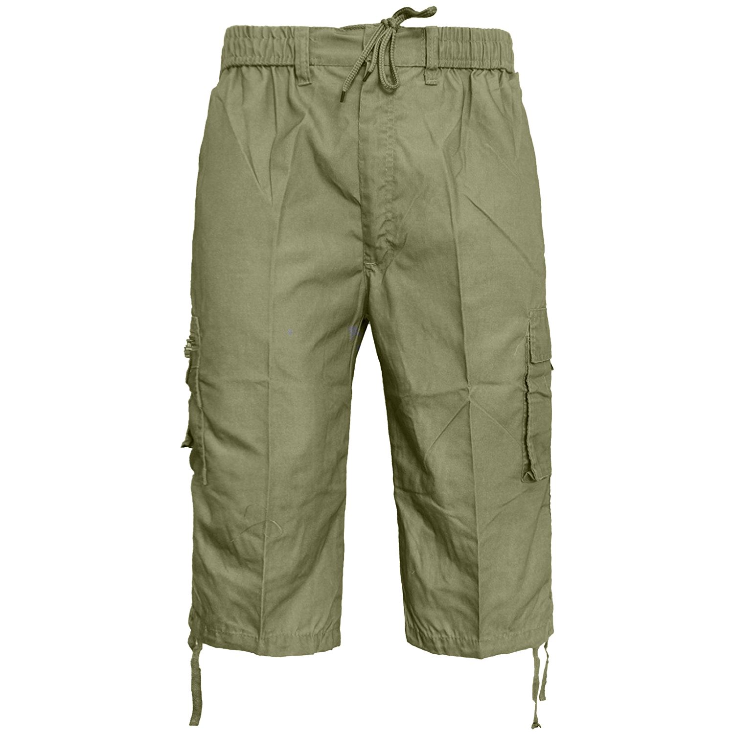 MENS-ELASTICATED-KNEE-LENGTH-OR-3-4-SHORTS-CARGO-COMBAT-MULTI-POCKET-SUMMER-PANT thumbnail 36