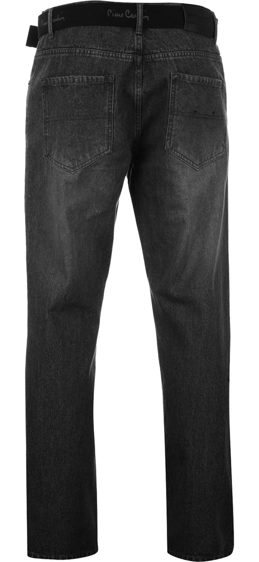 Mens-Belted-Denim-Jeans-Straight-Leg-Regular-Fit-Pierre-Cardin-Pants-Big-Tall thumbnail 8