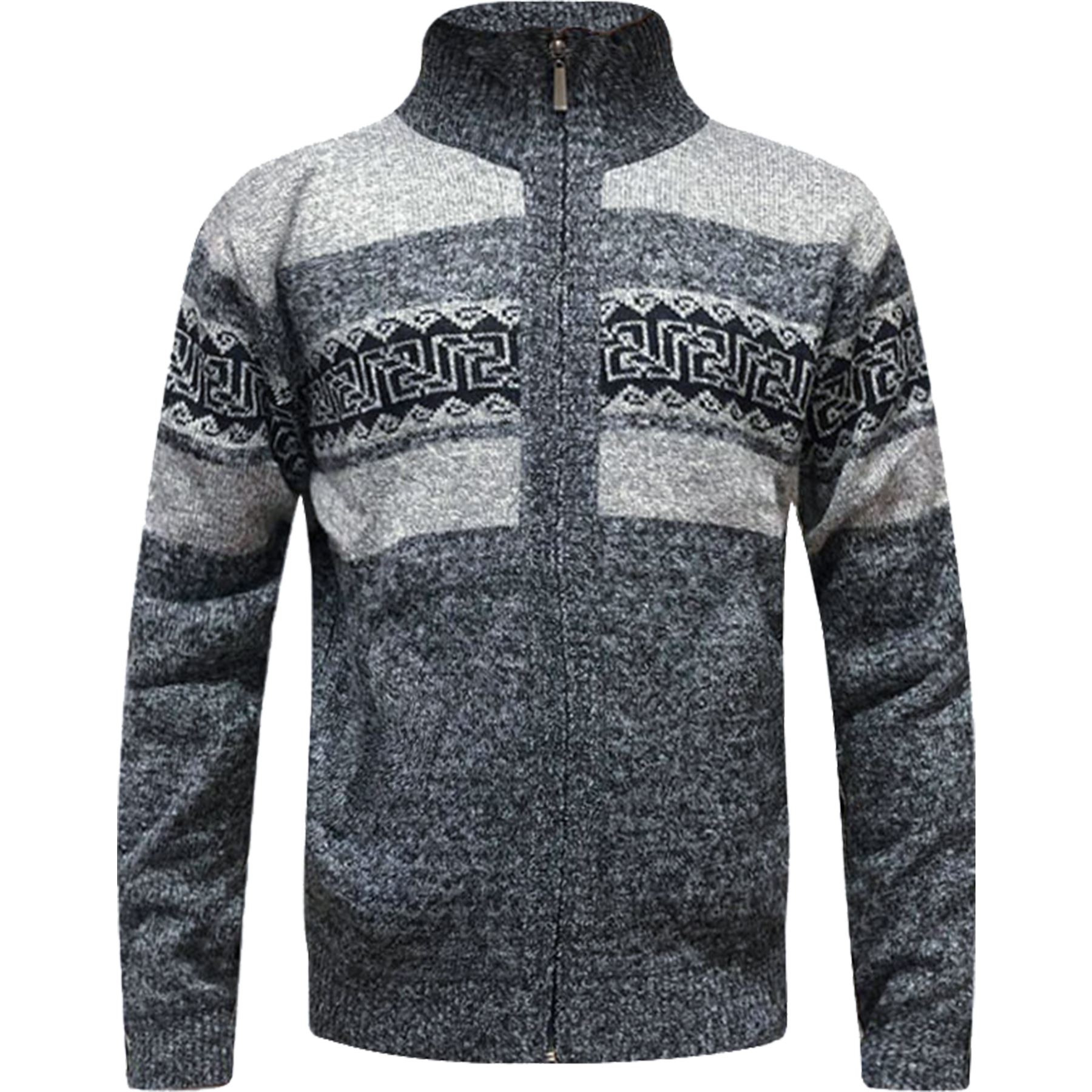 Mens-Zip-Up-Aztec-Fleece-Lined-Knitted-Cardigan-Xmas-Argyle-Wool-Blend-Jumper thumbnail 7