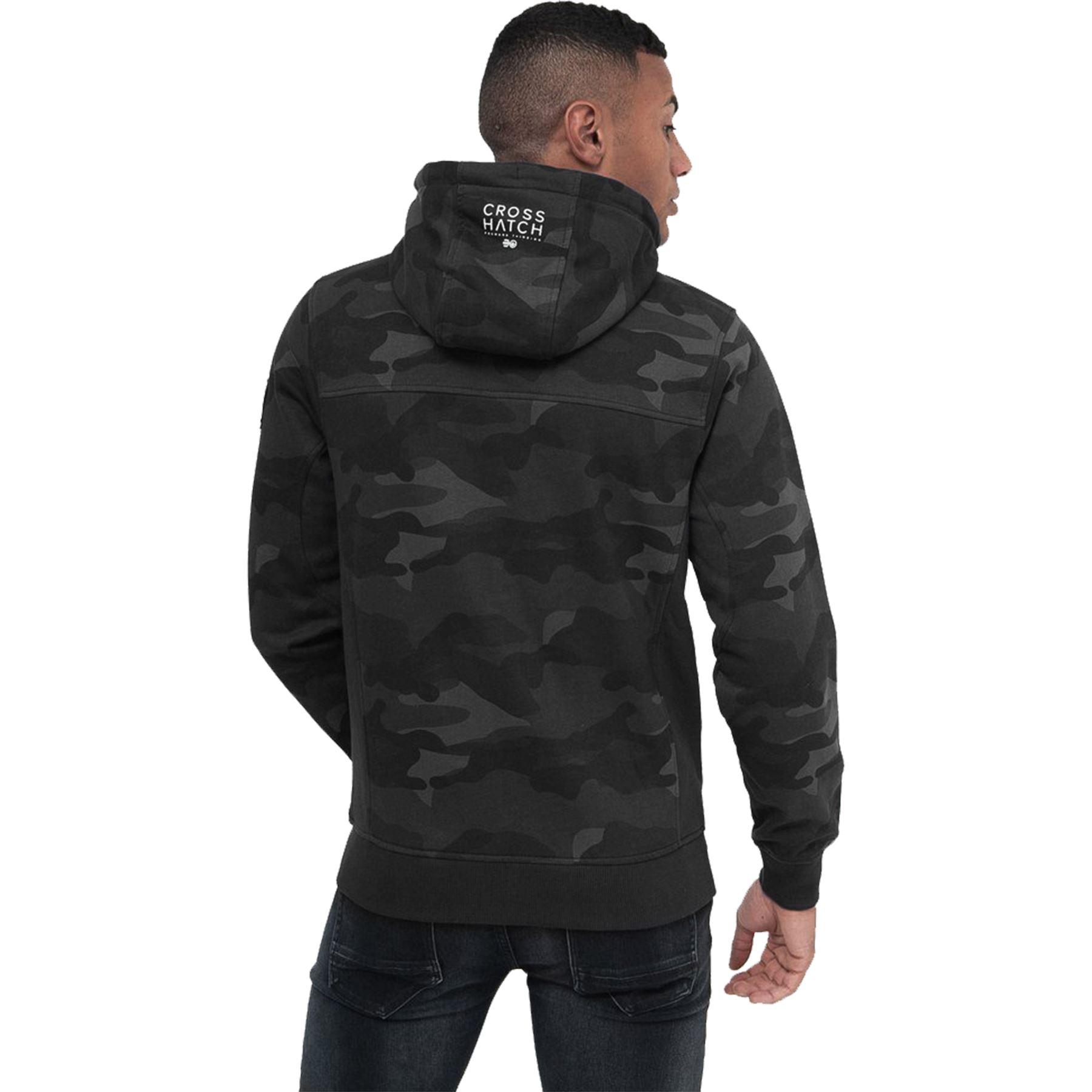 Crosshatch-Mens-Camo-Hoodie-Designer-Army-Style-Jacket-Zip-Thru-Pocket-Jacket thumbnail 9