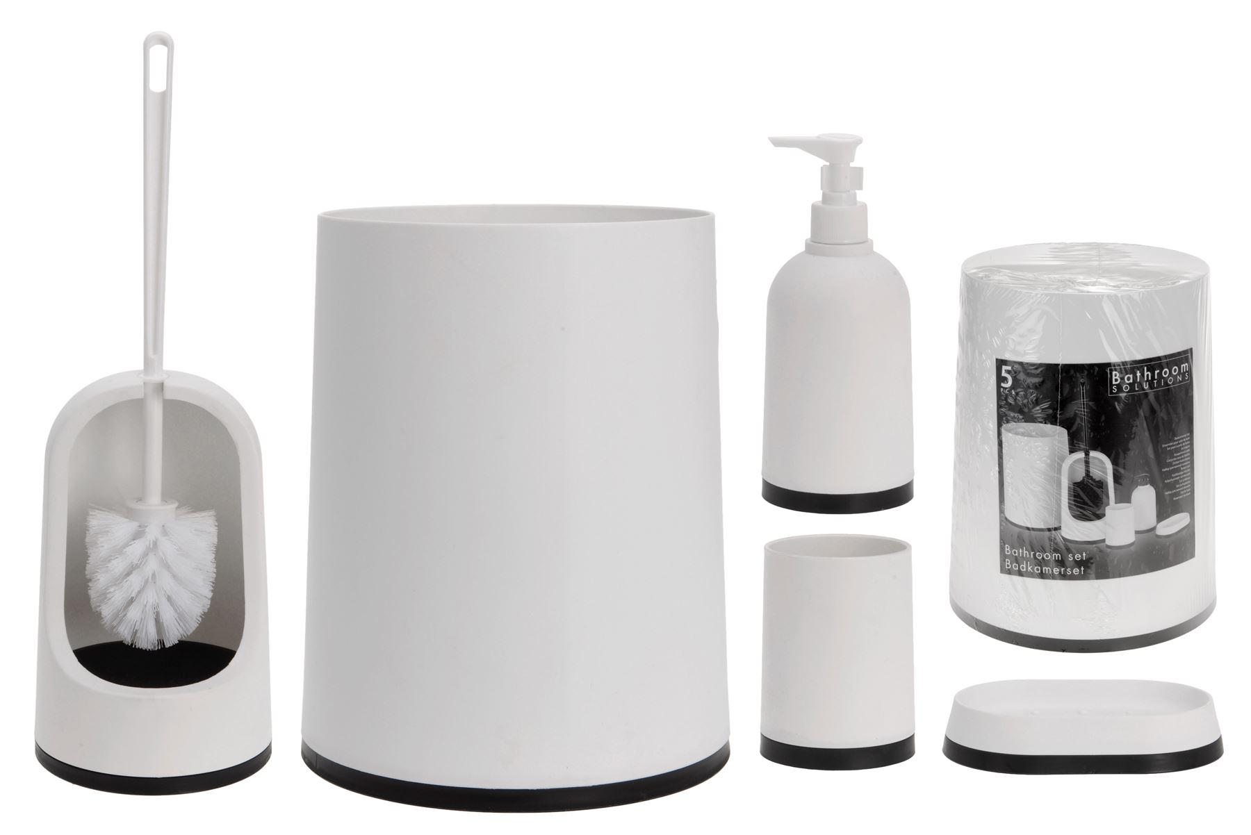 Bathroom Solution Set Bin Toilet Brush Holder Soap Dispenser Dish