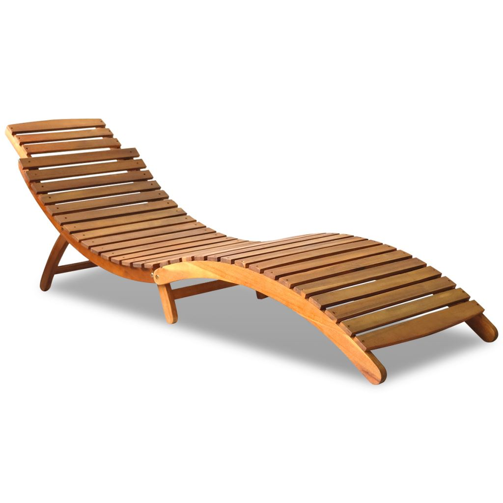 Image Is Loading Outdoor Foldable Sun Lounger Deck Chair Acacia Wood