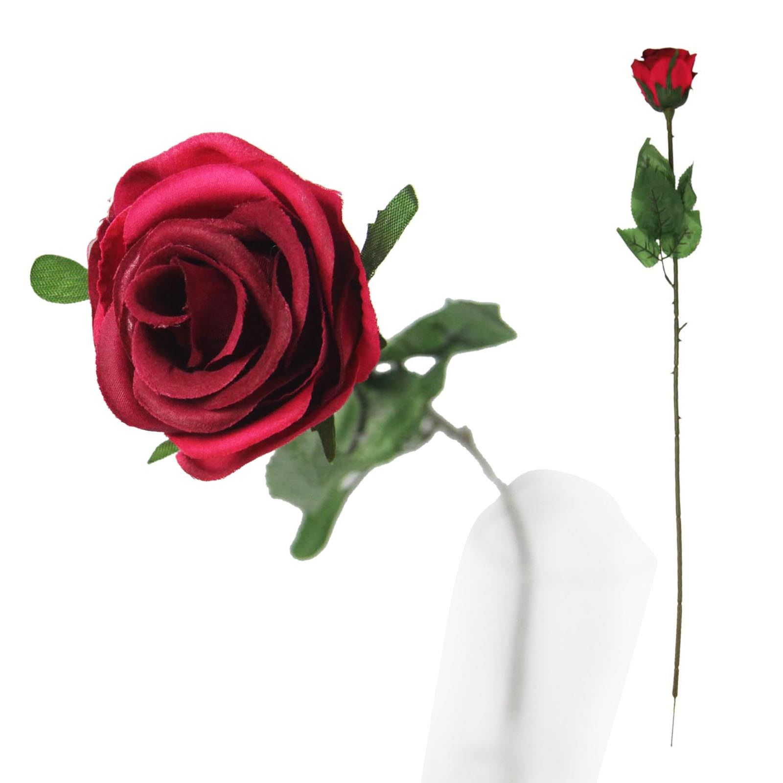 Single Premium Rose Bud Artificial Silk Funeral Flowers With