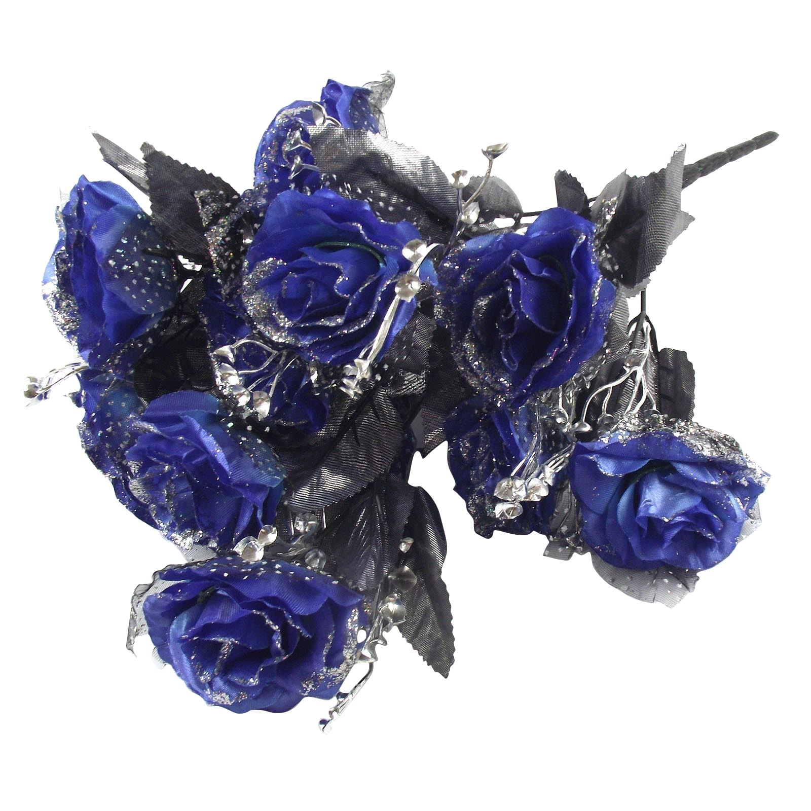 12 Head Large Glitter Rose Buds Bunch Bouquet